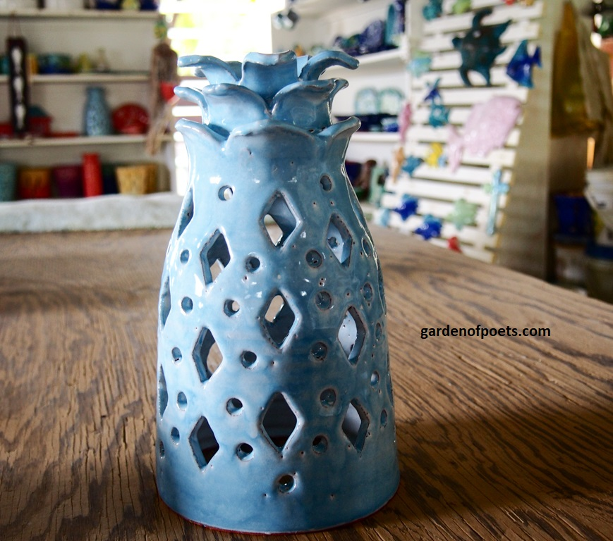 Pottery by  Sarah Fuller , iconic pineapple lantern, Antigua. Photo by Jennifer Ritchie.