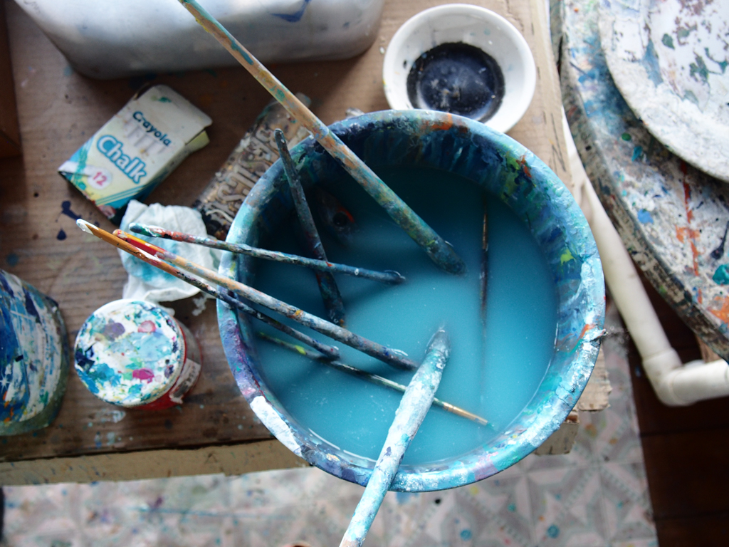 """In Jan Farara's studio, Buckleys, Antigua. """"It's a mess"""" she said. """"Oh, but I love the colours!"""" I replied as I snapped away, loving the whole atmosphere."""