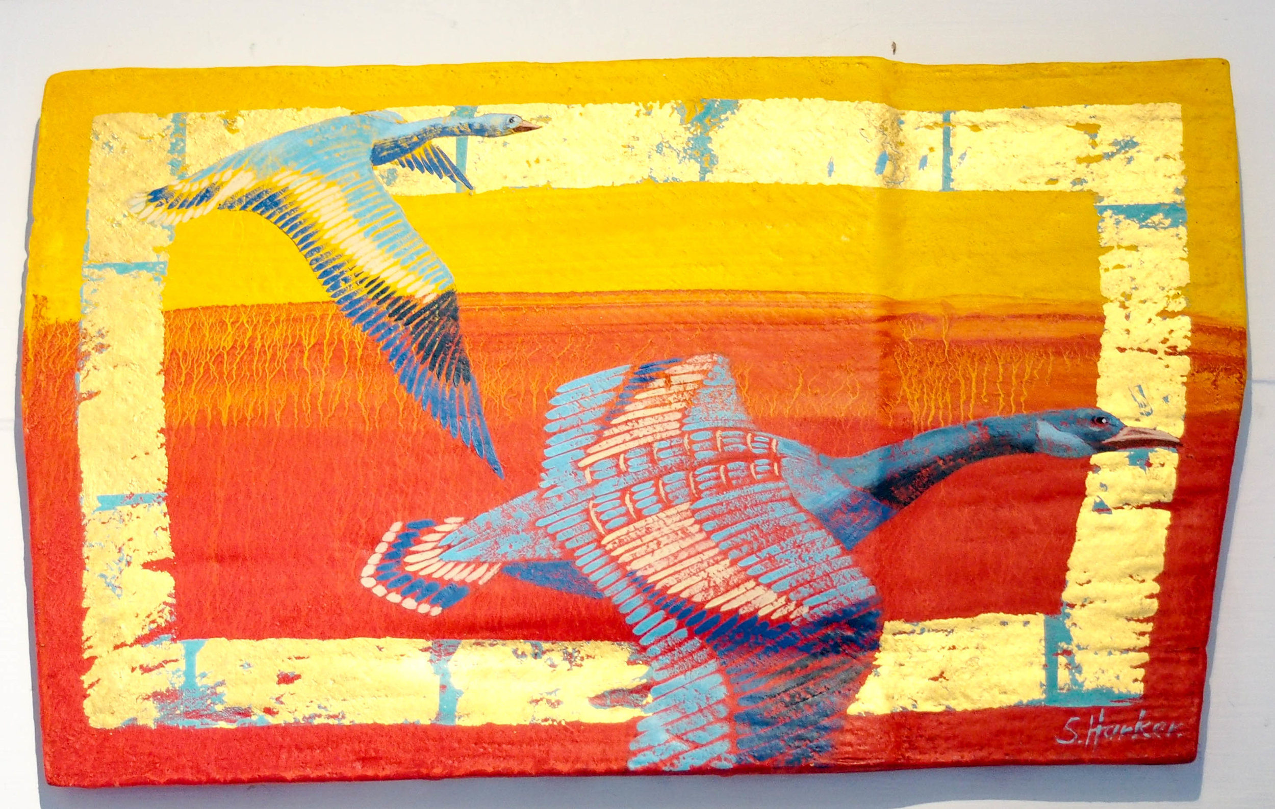 'Geese' by Sallie Harker. Medium: oil and gold leaf on wood. Photo by Jennie Ritchei