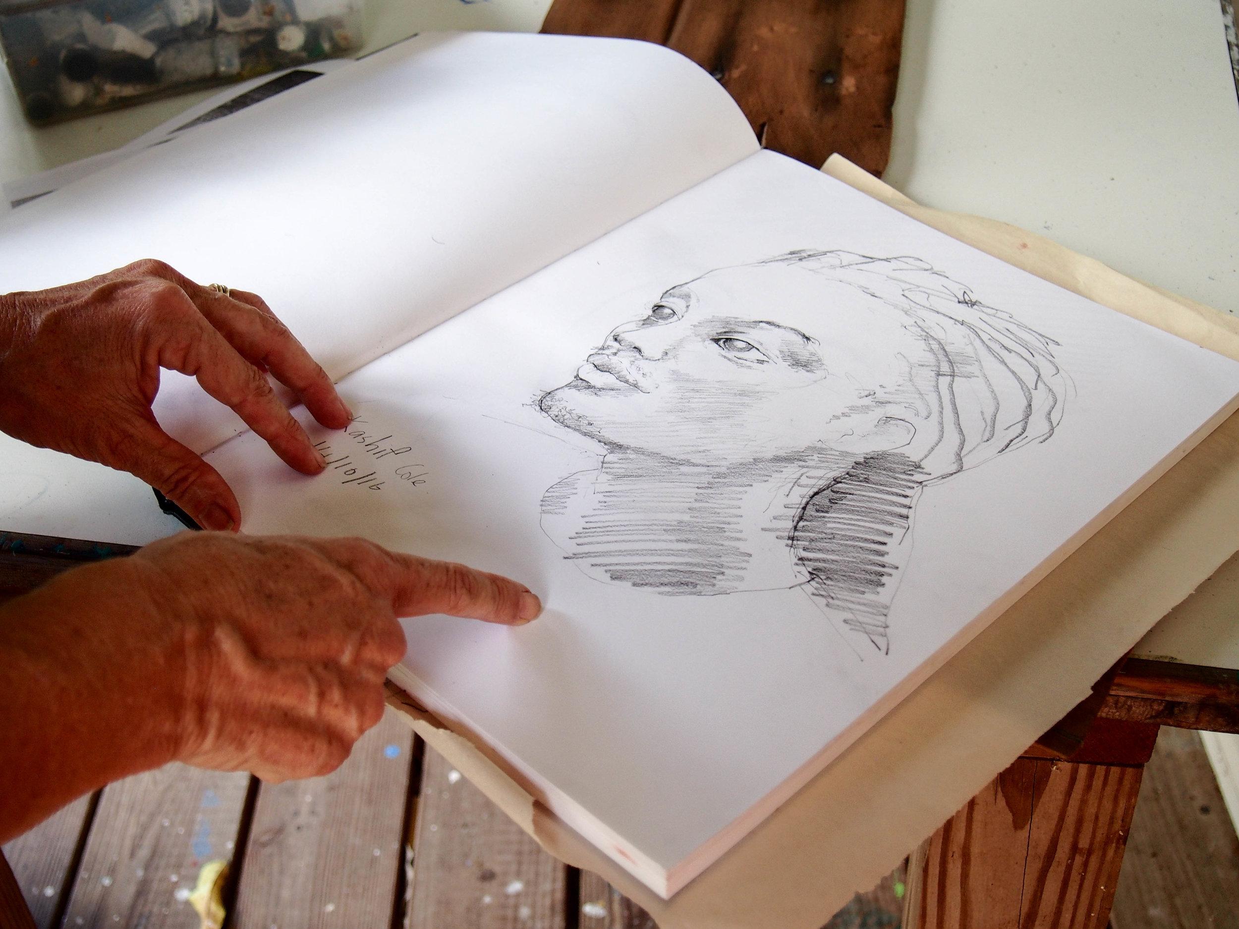 Inside Sallie's sketchbook. Photo by Jennie Ritchie.