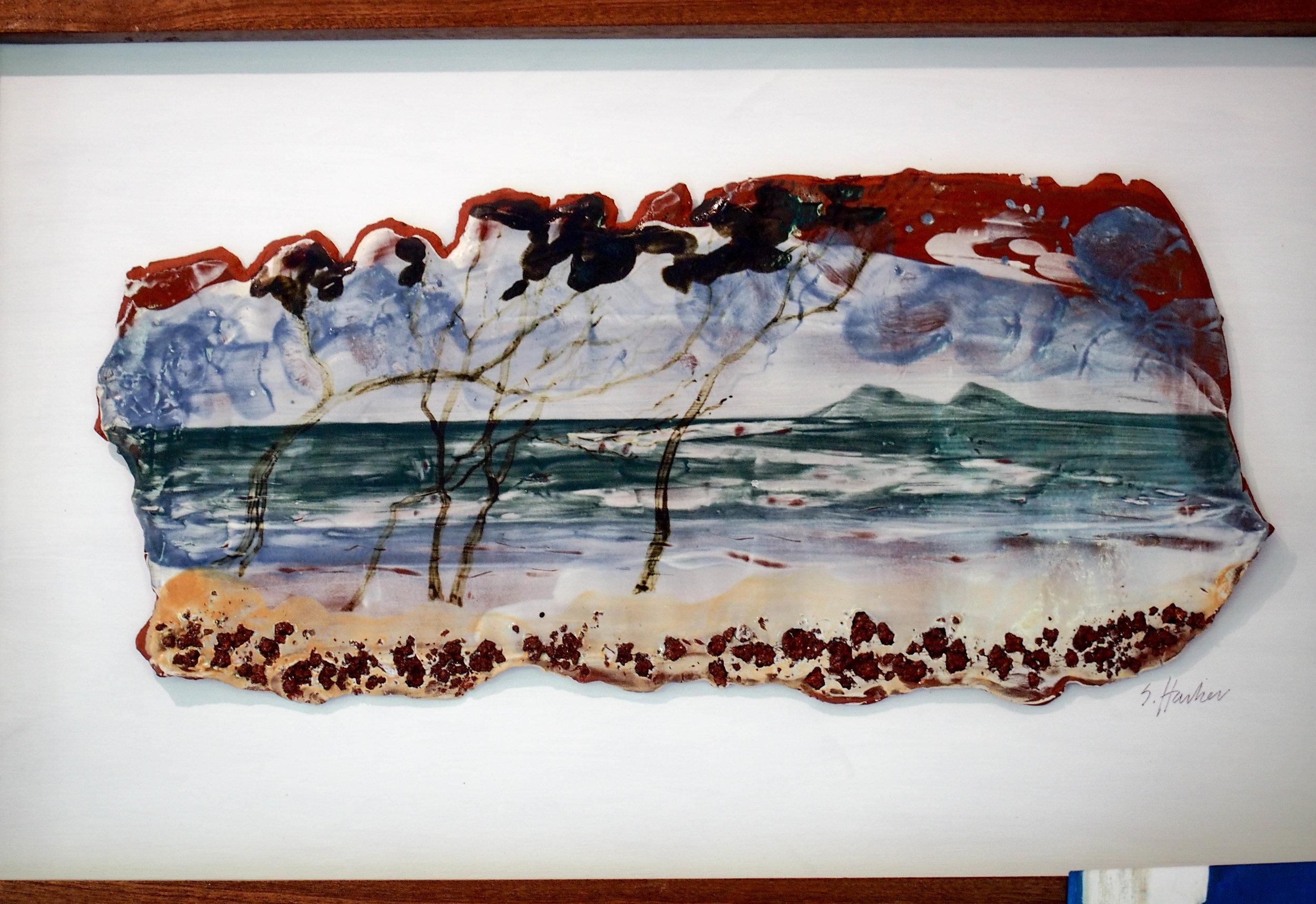 Seascape by Sallie Harker on ceramics. Photo by Jennie Ritchie.