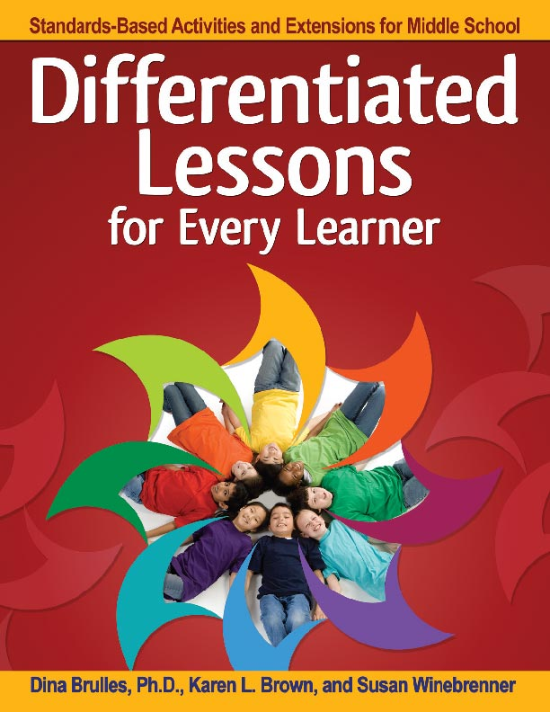 Differentiated Lessons for Every Learner  supports middle school teachers in teaching all students, including those with high ability. The book contains extension lessons in each content area with learning activities that align to the national content standards, embed ELA Common Core Standards, and correlate to DOK levels. The extension lessons provide for active learning tailored to address multiple learning levels. Using this semi-structured process ensures differentiated learning experiences that align to the standards while also respecting that students have different interests, different methods of learning, and most importantly, that they are learning at different challenge levels. The time is now upon us to emphasize interdisciplinary learning experiences that provide real-world connections and engage students in relevant and meaningful learning. We have long known that while critical for gifted and talented students, these higher level thinking strategies benefit all students.  Foreword by Karin Hess, Ed.D.  Grades 6–8