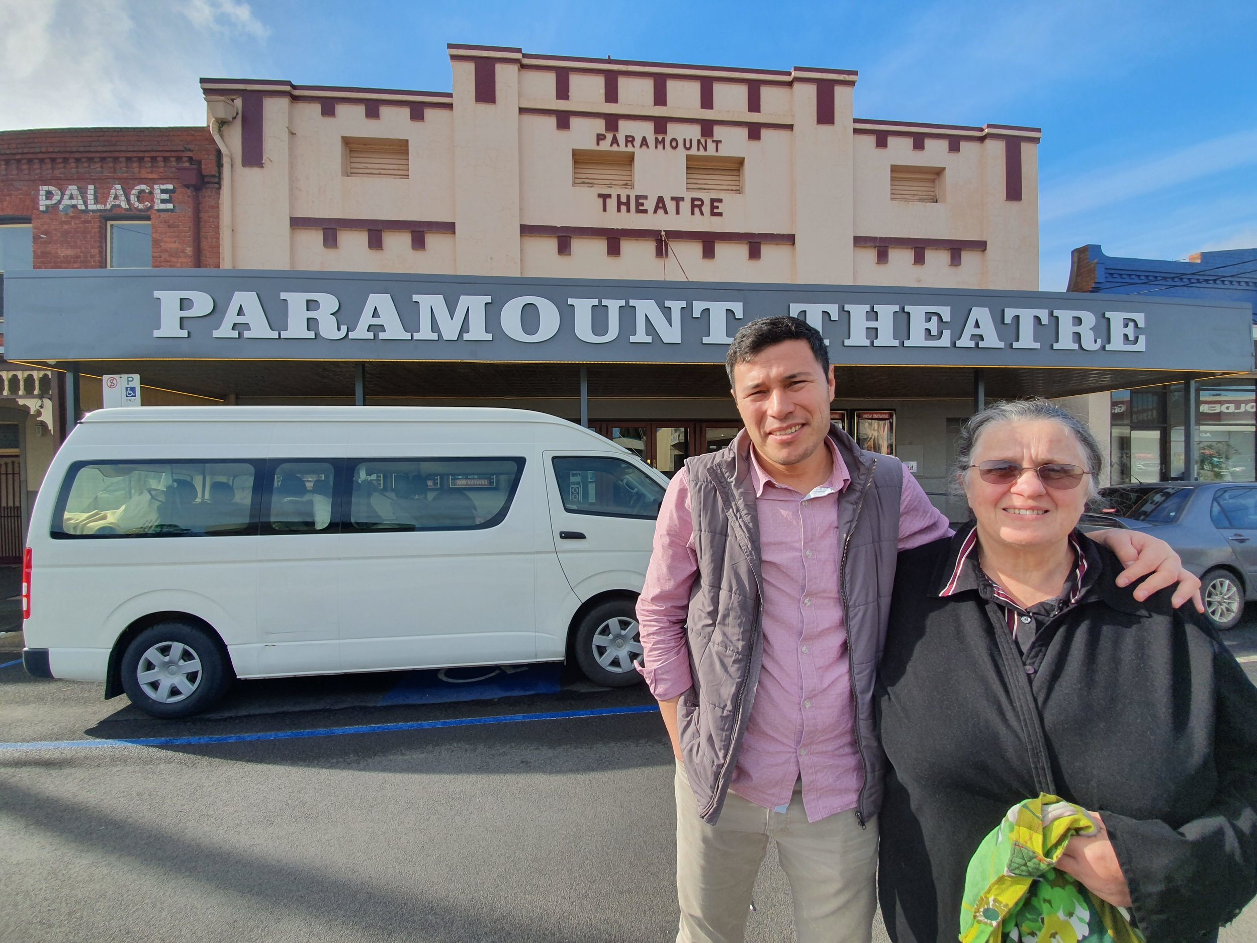 Muzafar and xxxxx outside the picturesque Paramount Theatre in Maryborough.jpg