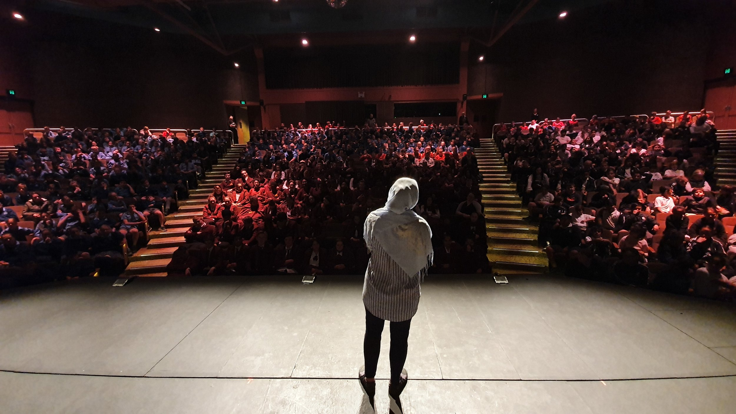 Nagina speaking to 523 school students at the Griffith Regional Theatre.jpg