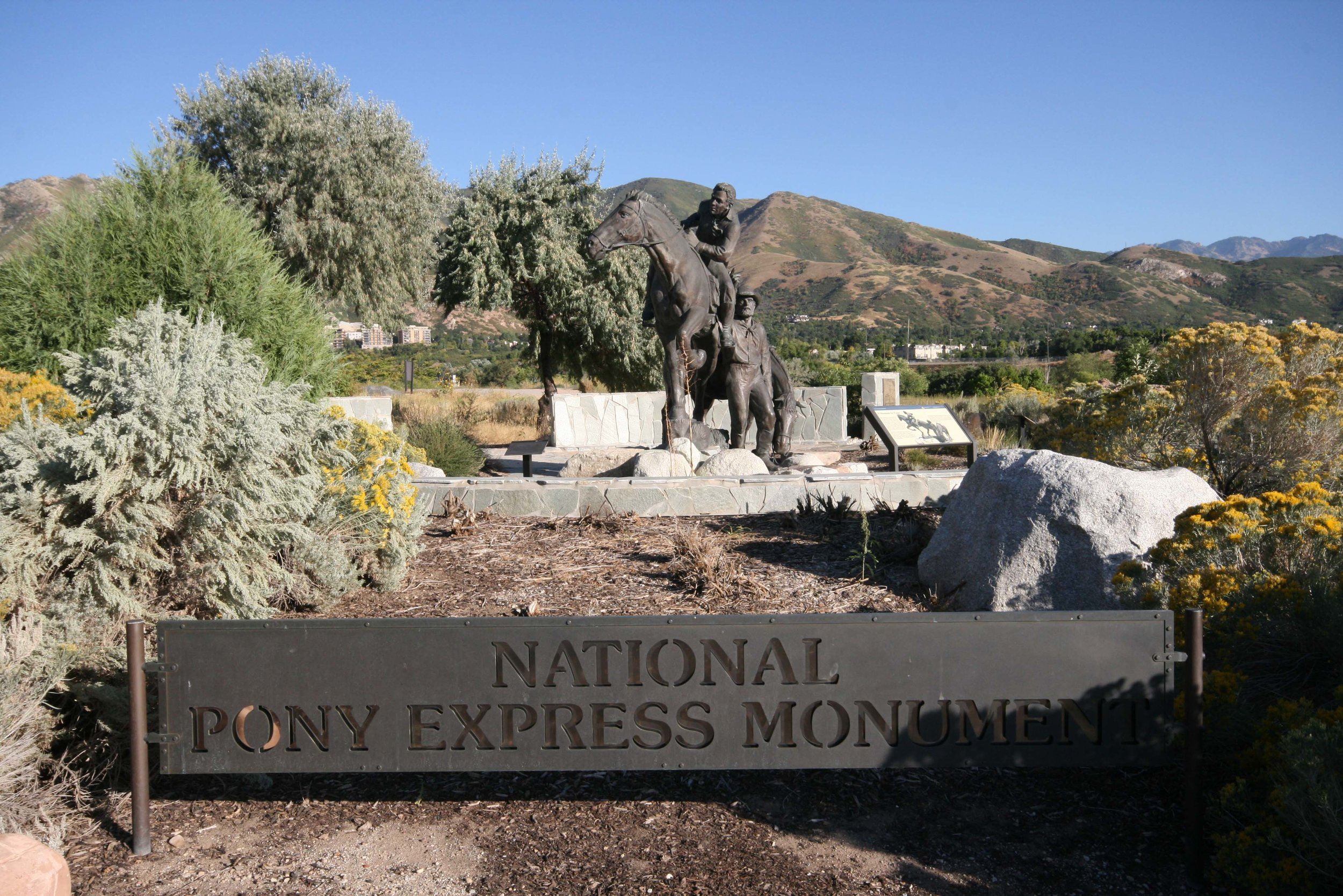 National Pony Express Monument - The rugged action captured in this horse and rider honors the courageous adventure that was the short-lived Pony Express. Facing a multitude of dangers, pony express riders criss-crossed Utah until the coming of the telegraph made their services obsolete.