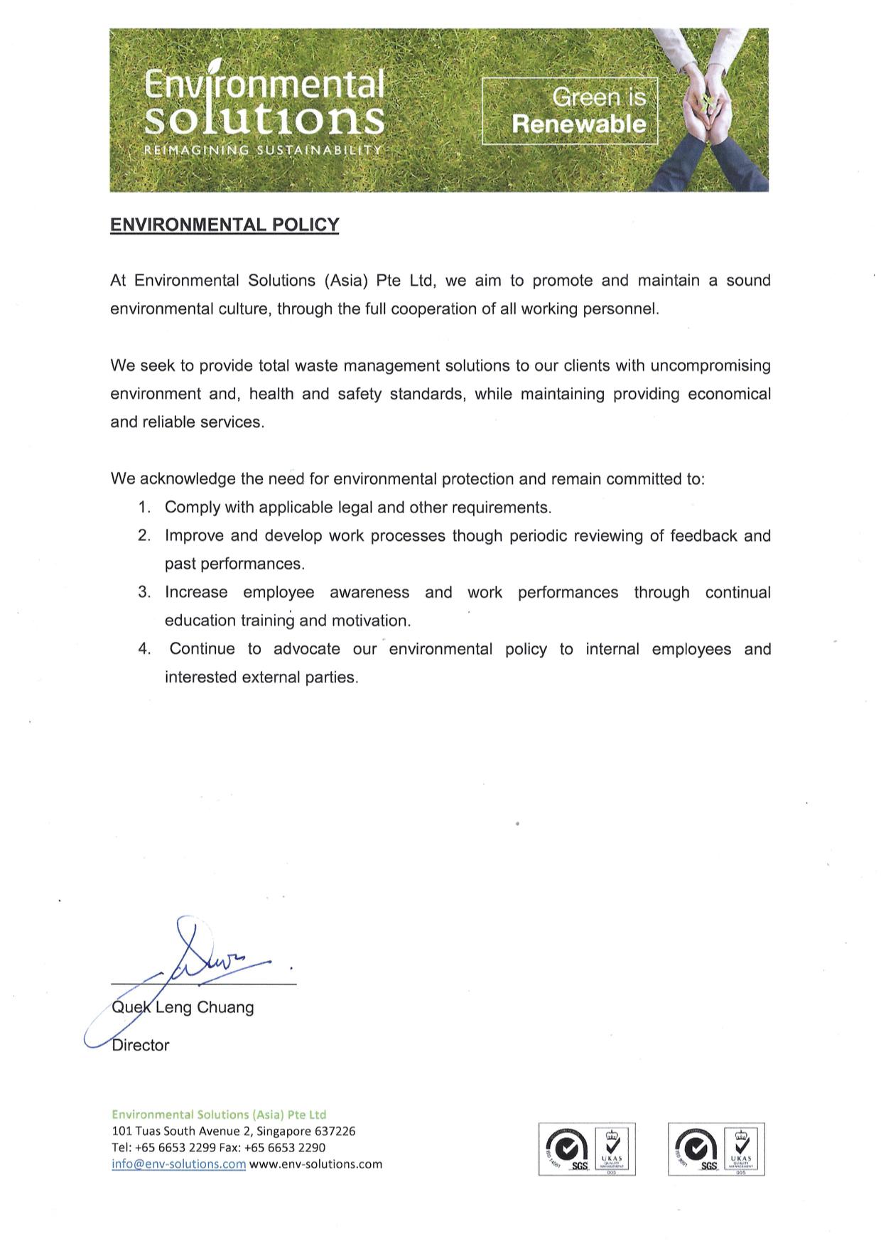 Environmental Solutions (Asia) Environmental Policy 2019