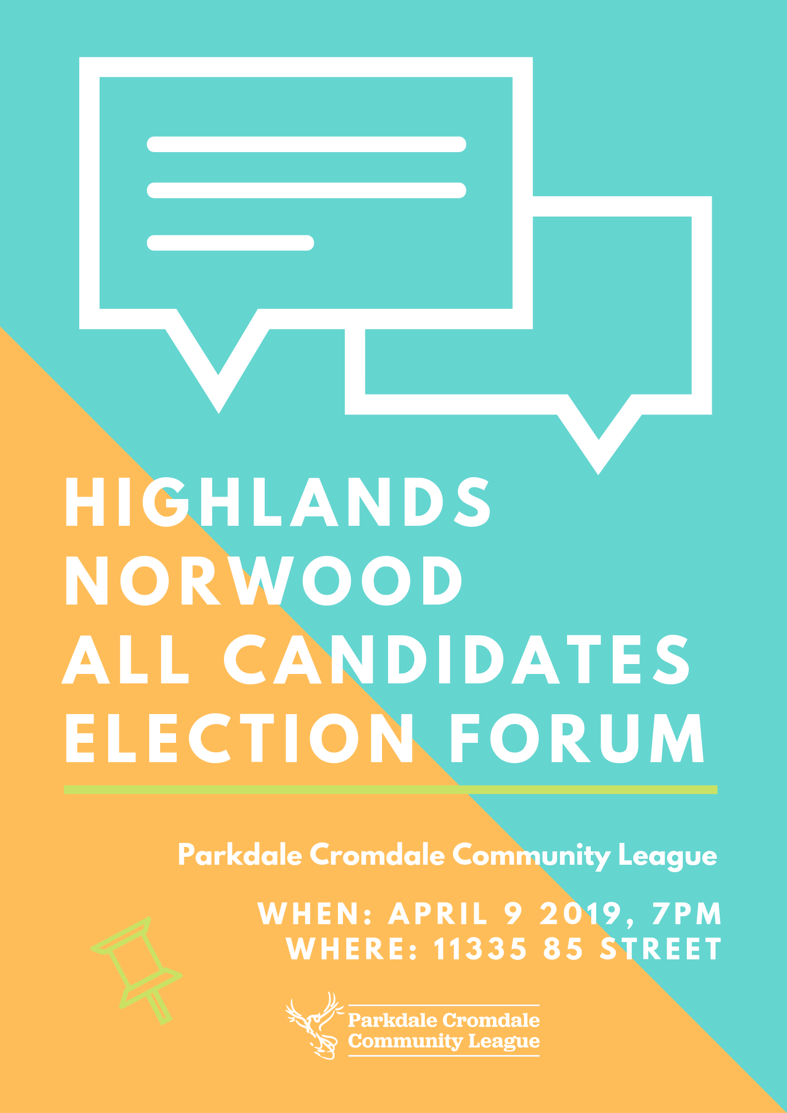 Highland Northwood All Candidates Election forum - Poster.png