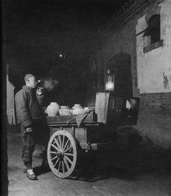 Hedda Hammer Morrisson  – Street seller, Beijing –  circa 1935  Silverprint – 24 x 25.5 cm – stamped on the back, 'Hedda Hammer, Peking'