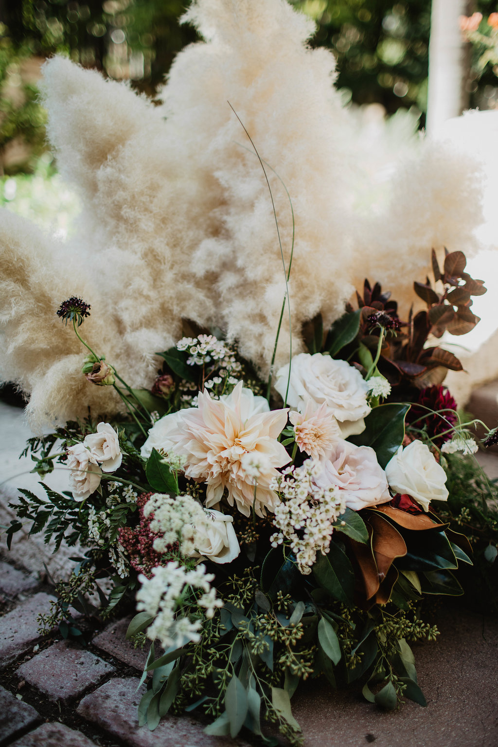 Burgundy and Blush Pampas Grass and Dahlia Altar Arrangement - Royal Bee Florals and Events