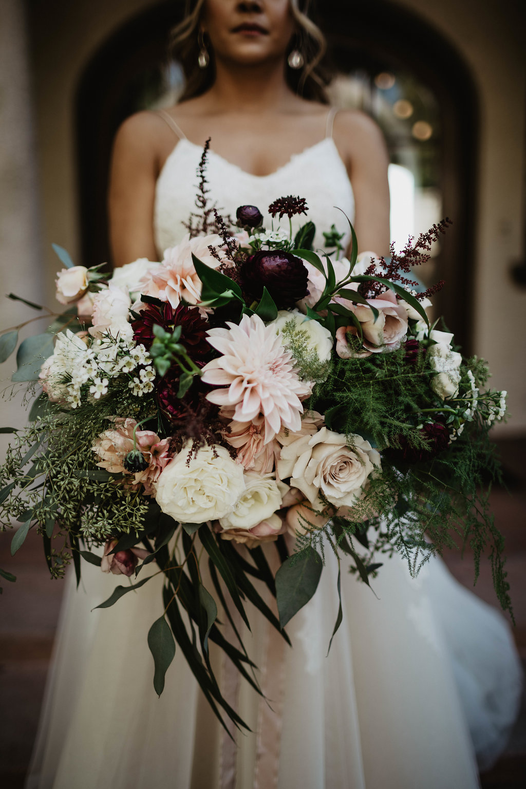 Romantic Blush and Burgundy Bridal bouquet - Wattles Mansion, Hollywood, CA - Royal Bee Florals and Events