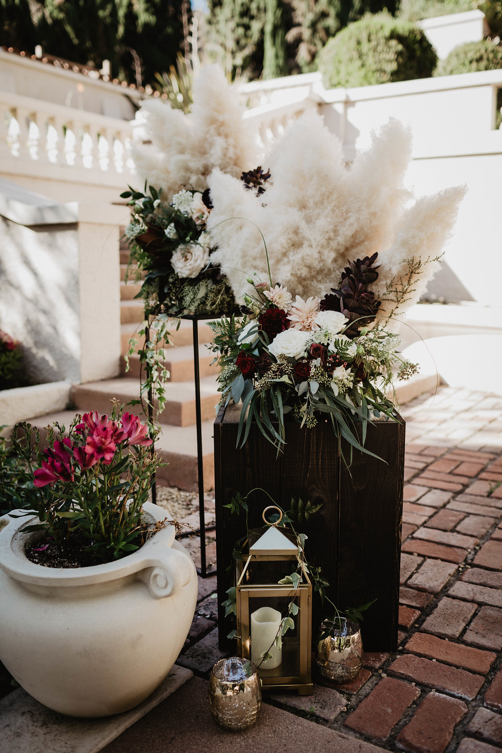 Burgundy and Blush, Pampas Grass and Dahlia Altar Arrangement- Wattles Mansion, Hollywood, CA - Royal Bee Florals and Events