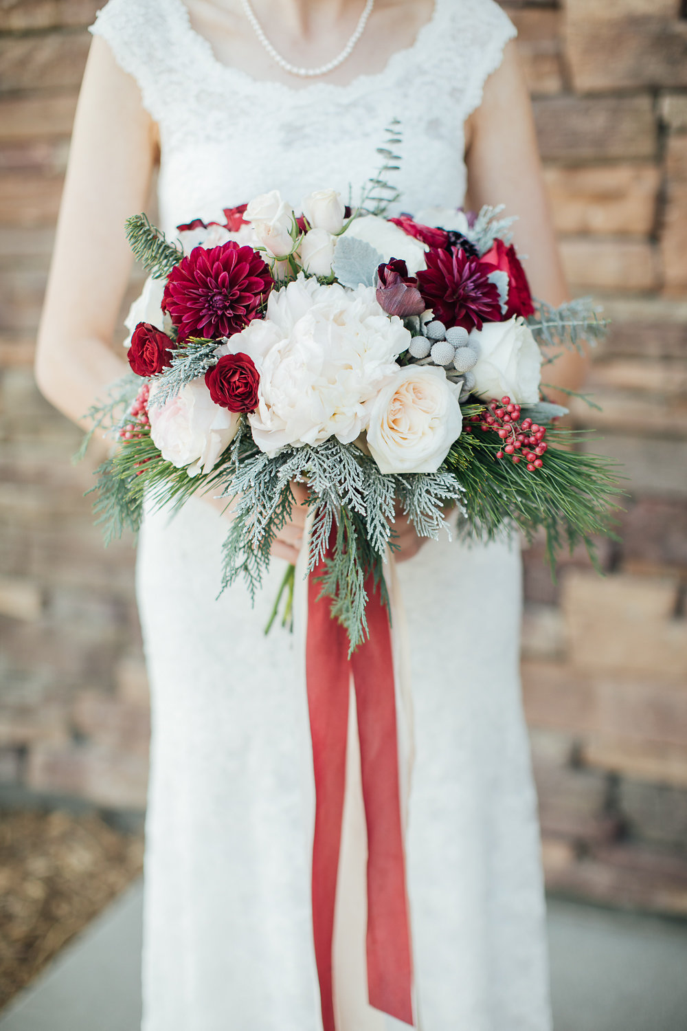 Burgundy and Blush Christmas Wedding Bouquet - Royal Bee Florals and Events