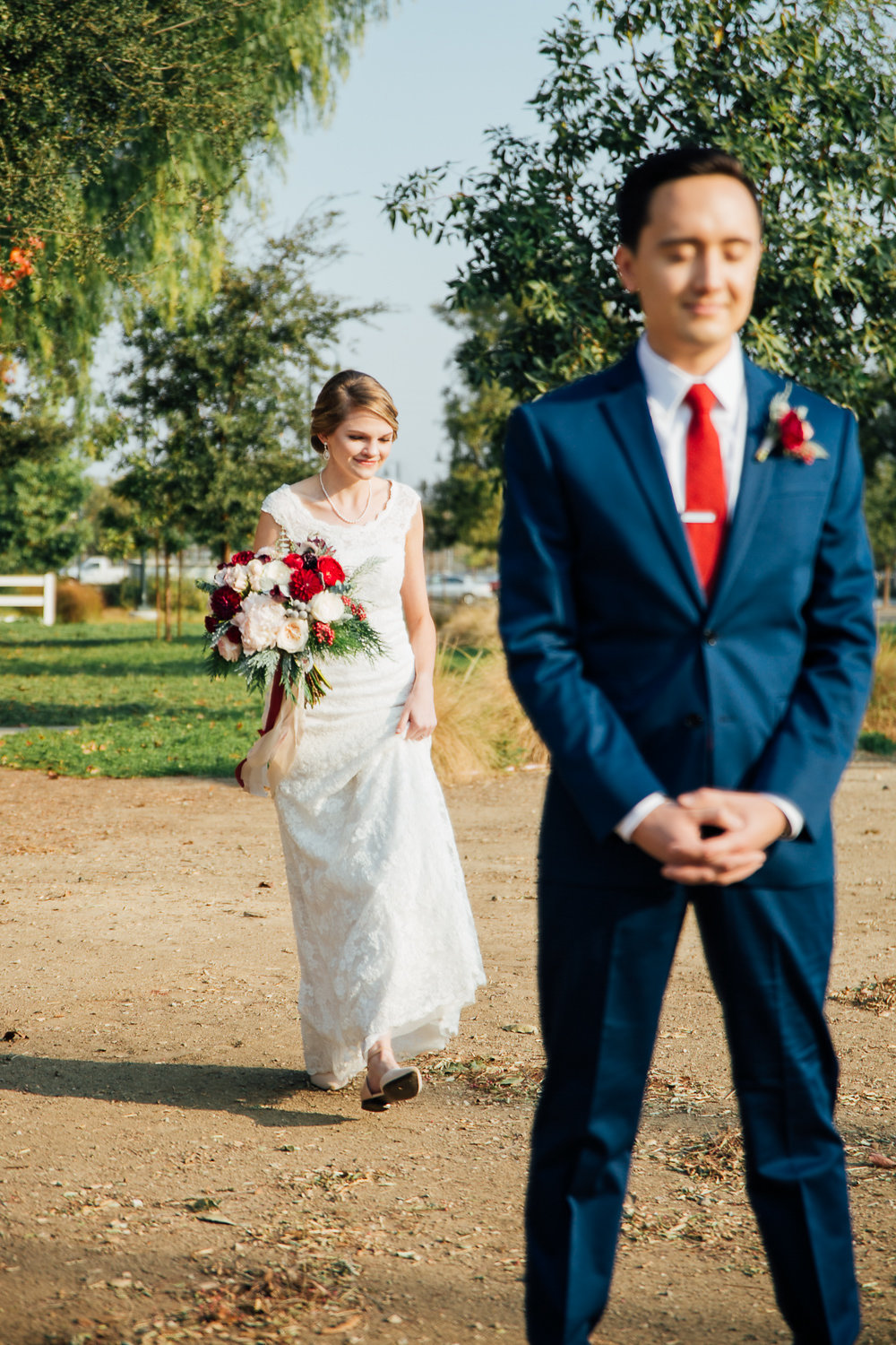 Amy and Gabriel - First look - Royal Bee Florals and Events