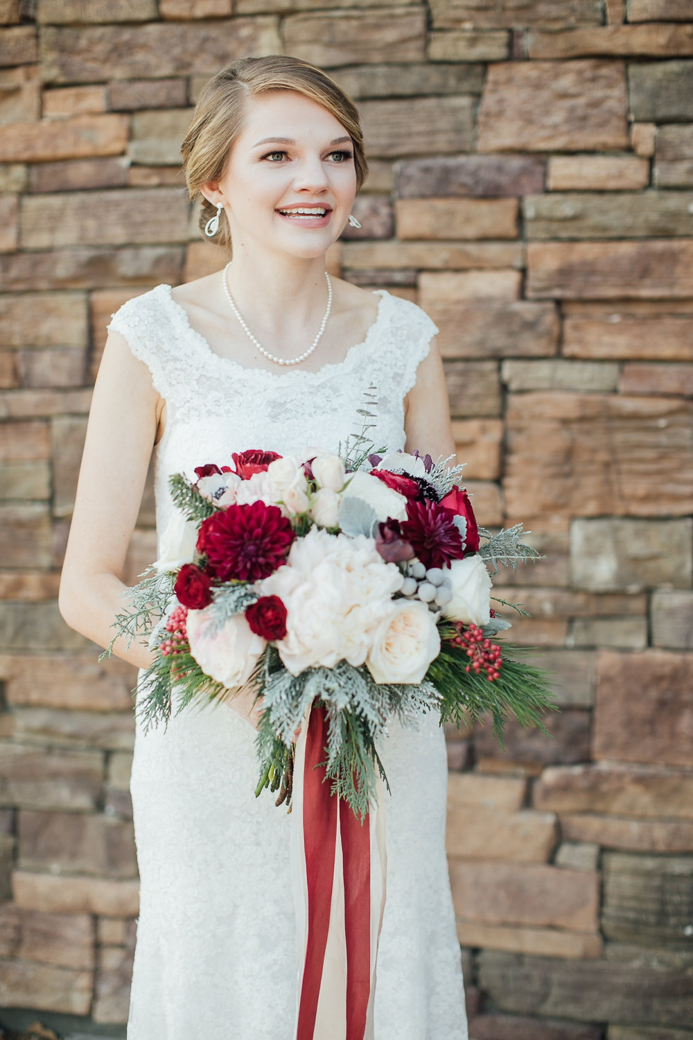Winter Bridal bouquet - Royal Bee Florals and Events