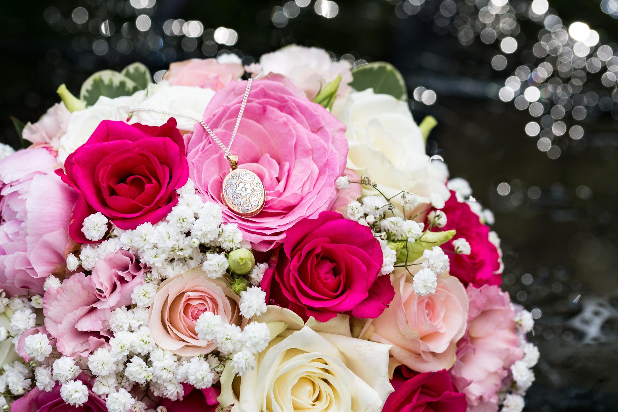 wedding bouquet and locket