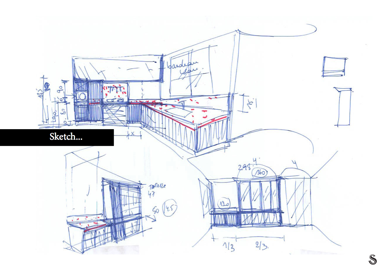 - The internal design of the project is based on the requirements of the customers, their desires according to every space. It is a real team which we form here and each one brings it 's input. Whole evenings of brainstorming, exchanges, sharing.There are many different spaces to be discussed: office area and apartment, little cinema, children's area, winter garden with swimming pool, wine cellar, wellness, parental area, kitchen, living room, dining room.