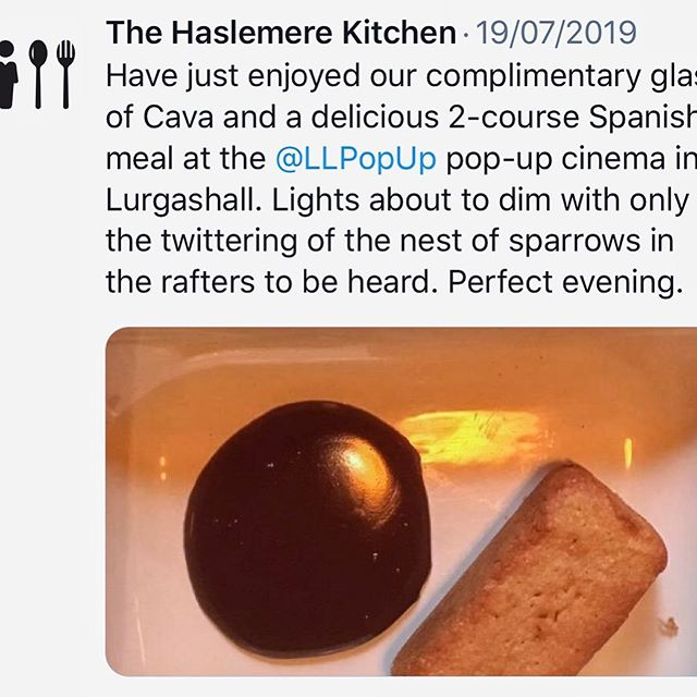 Lovely piece from @thehaslemerekitchen following our Spanish night, showing the delicious almond cakes and chocolate sauce. I'm hoping to bake some more of these for snacks at our final weekend of Amelie and Bohemian Rhapsody. These are super easy and without flour, just almonds, sugar, eggs and vanilla - my daughter can't get enough of them. #almondcake #popupcinema #chichester #petworth #haslemere #southdowns #outdoorcinema #foodfestival #filmfestival #foodandfilm #filmandfood #lurgashall #cowdray #goodwood #bohemianrhapsody #ameliemovie