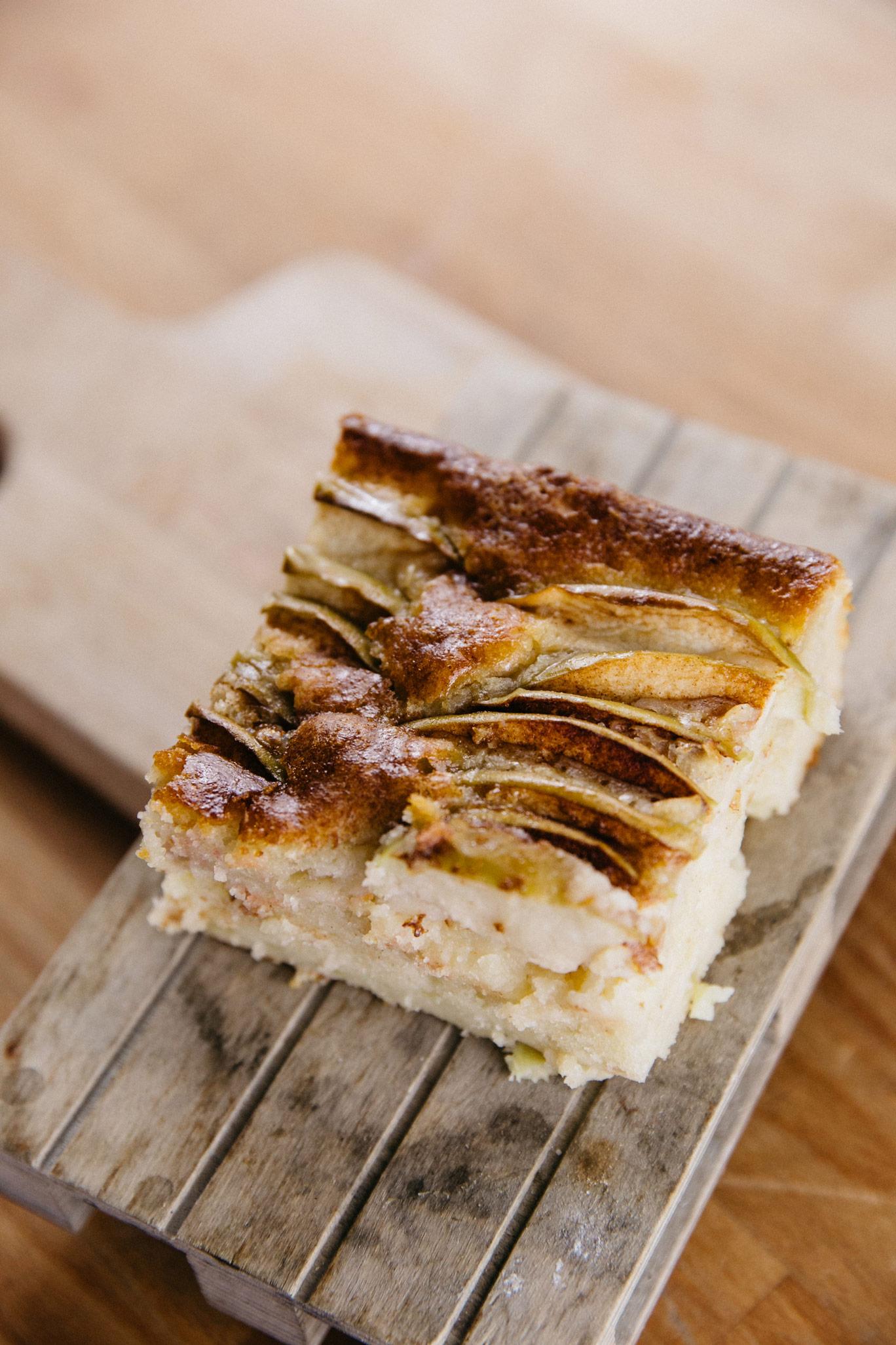Juicy apple walnut cake