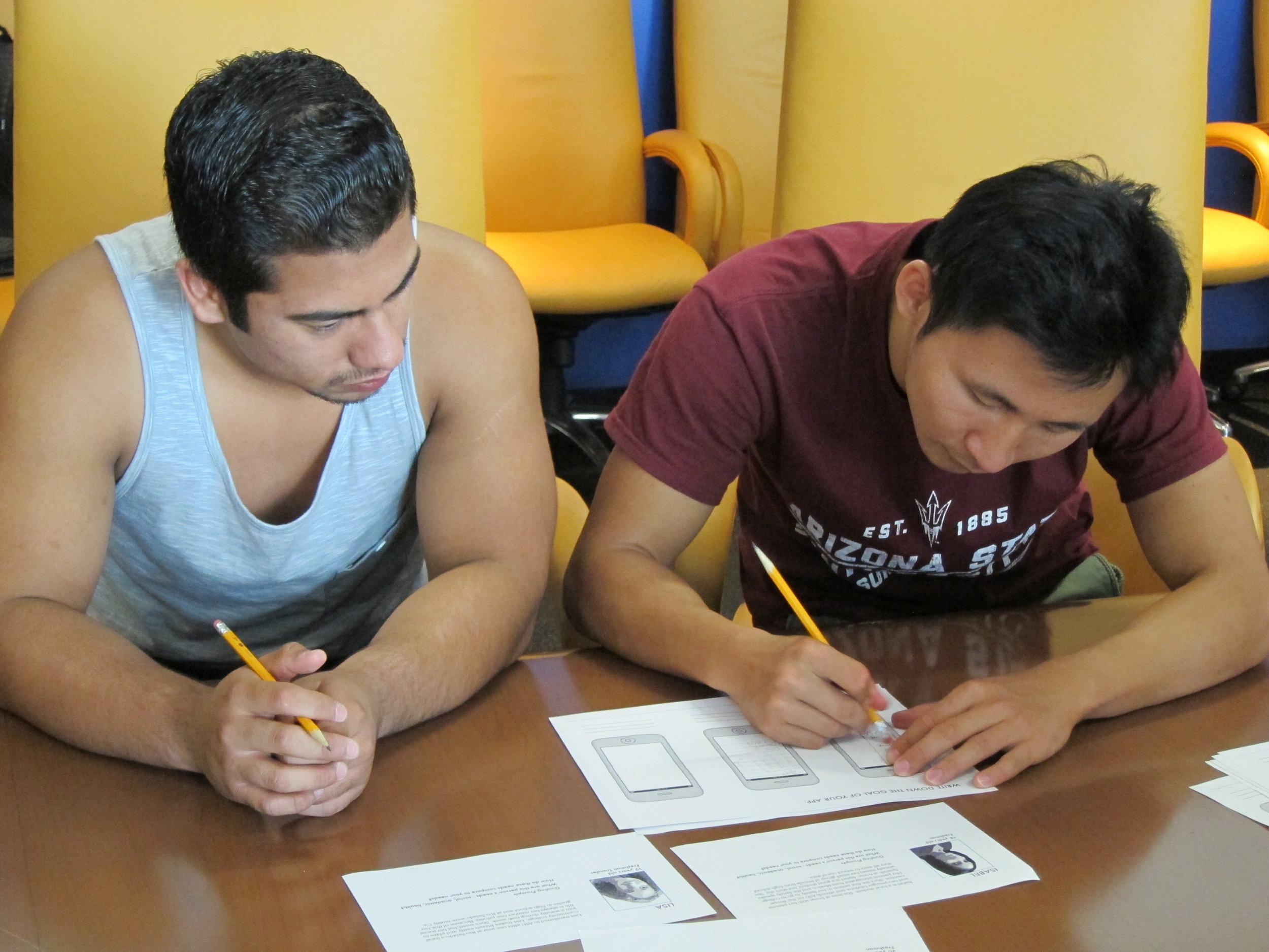 Facilitating wireframing activity with Arizona State University Students