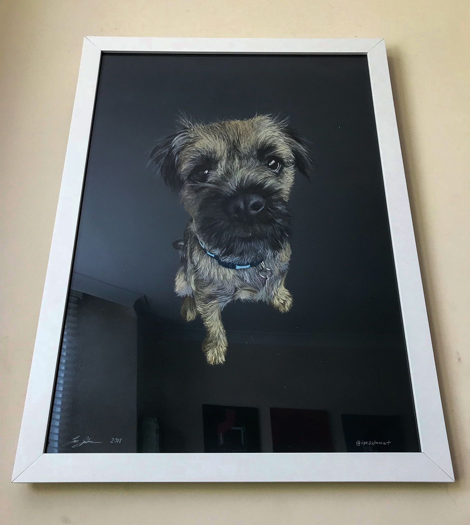 Martin - 07/08/18I first saw Ian's art on Instagram and was taken by a cool design featuring a dog. Since we were having our kitchen updated and I needed something funky for the walls I contacted Ian. Fast forward a few weeks and the portrait promptly arrived. And what a belter it is, great leftfield perspective and use of media - it now hangs pride of place in my new kitchen and The real Buddy loves it too! Can't recommend Ian enough, great value, great art- thank you!