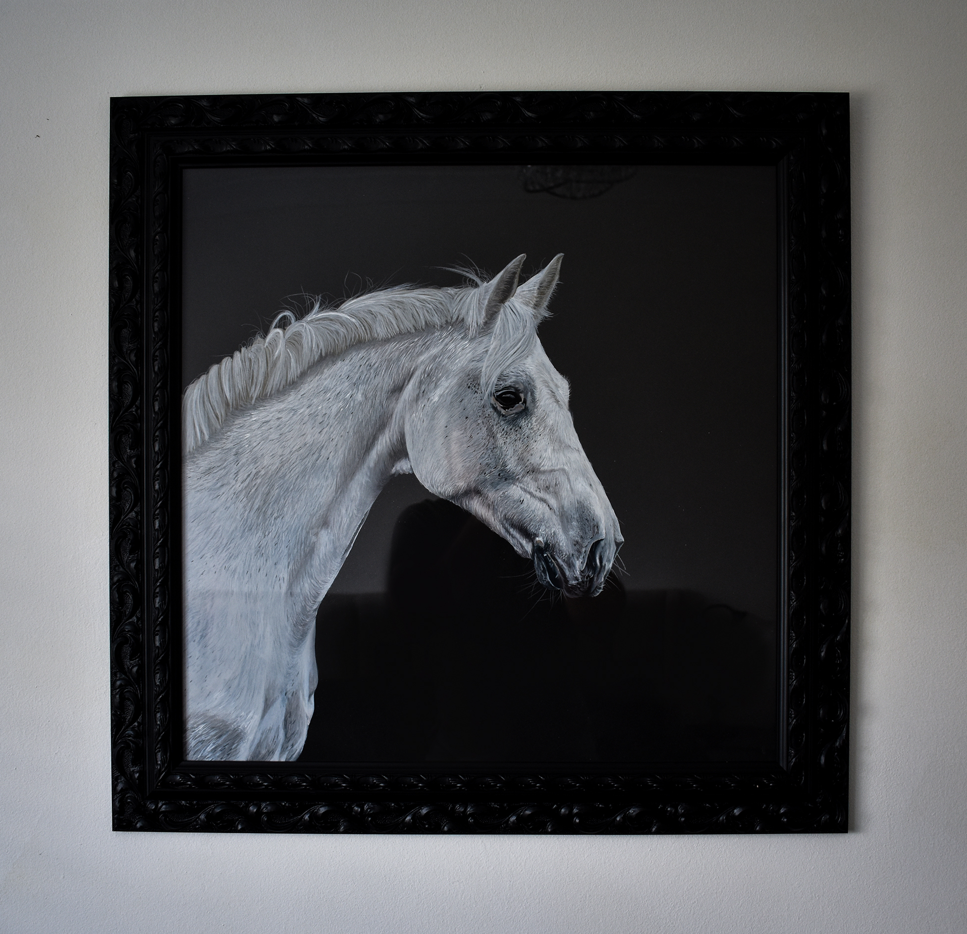 Rubis Horse Pet Portrait painting - Ian Salmon Art - framed 1.jpg