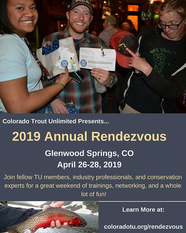 The 2019 Colorado Trout Unlimited Rendezvous is set for April 26-28, at the majestic Hotel Colorado in Glenwood Springs. Tickets will be available soon, and you can RSVP now at https://coloradotu.org/rendezvous/ . Stay tuned for details. #coloradotroutunlimited #fhtu #ferdinandhaydentroutunlimited #glenwoodsprings #colorado #flyfishing #hotelcolorado #rendezvous #conservation #trout