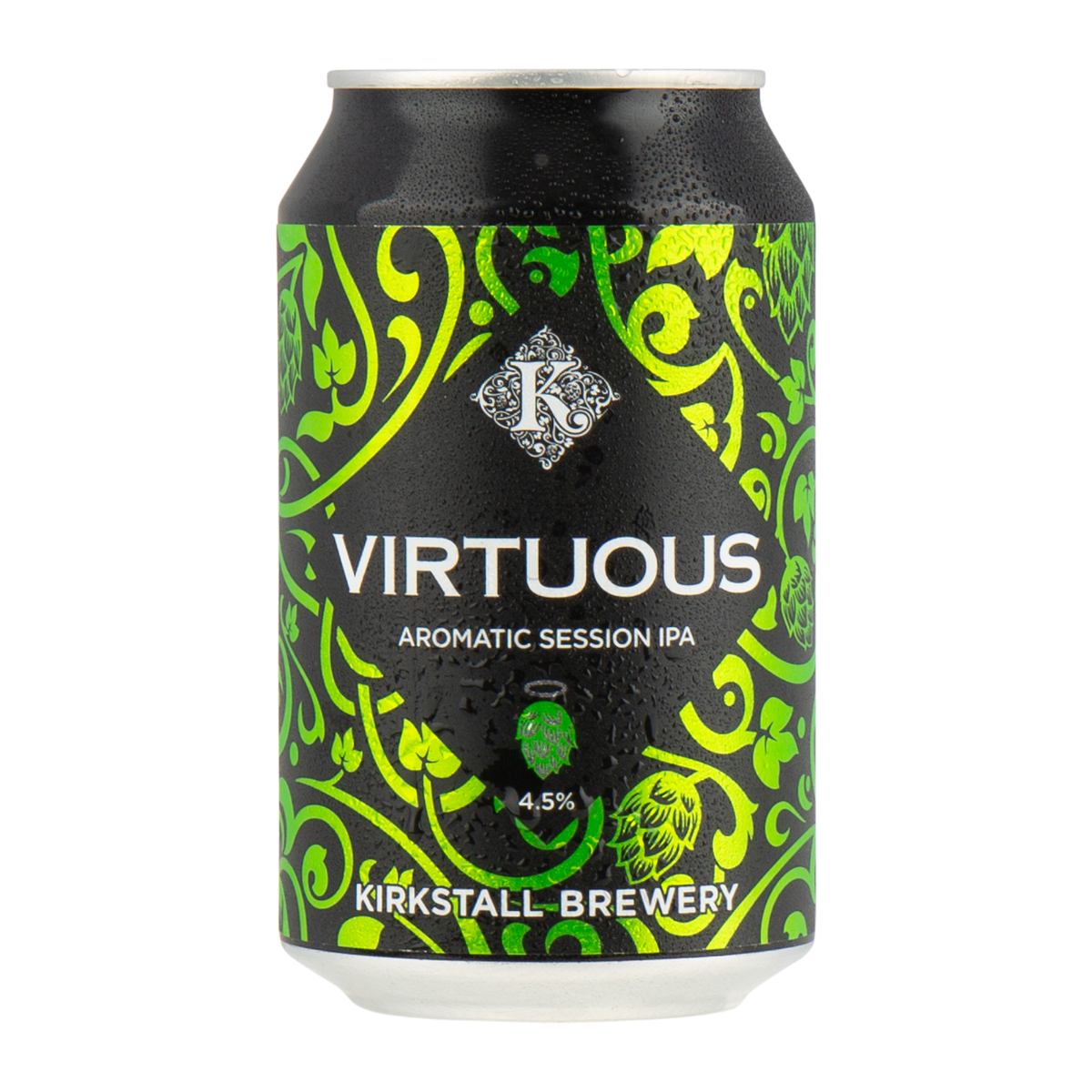 KIRKSTALL BREWERY VIRTUOUS SESSION IPA (GLUTEN FREE) (4.5%ABV)  Lovely refreshing gluten free IPA with a lower ABV.  €2.95
