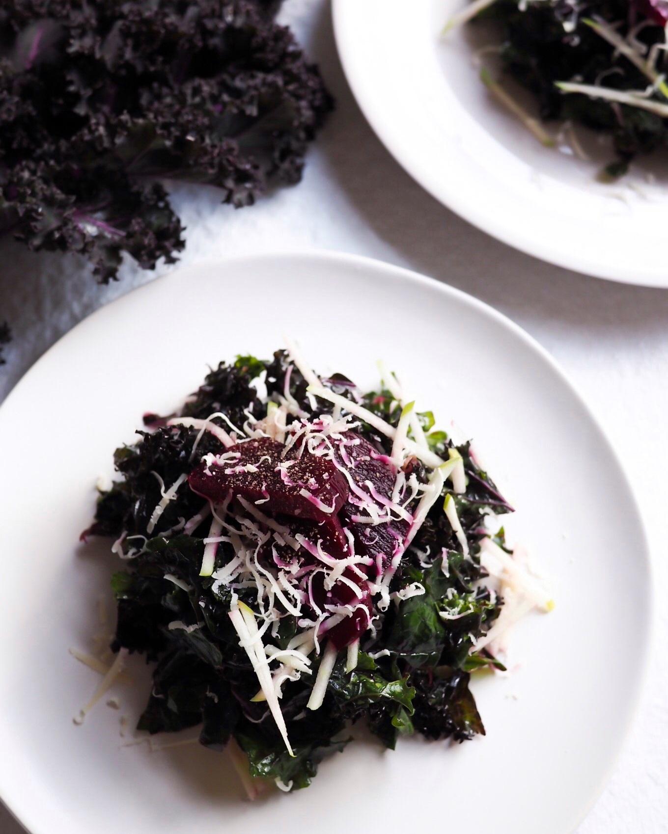 Purple+Kale+Salad+with+Beet+Vinaigrette+-+Kris+Gill