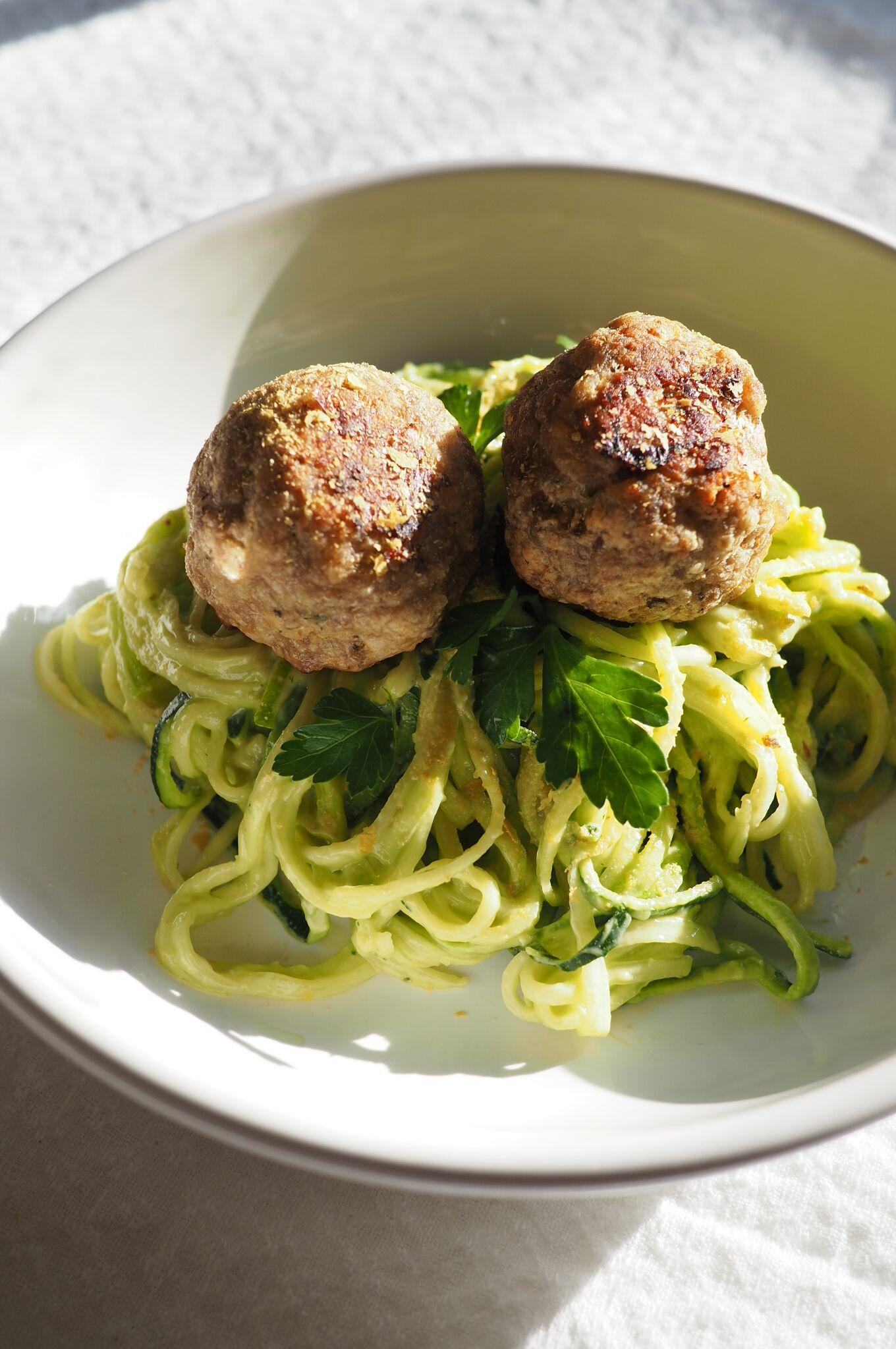 Creamy Avocado Zoodles With Turkey Meatballs - Kris Gill