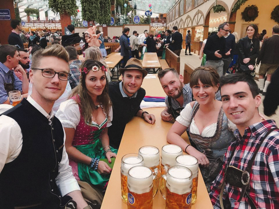 First beer. At which point we all look like normal humans, able to communicate with words and not only by singing German drinking songs.