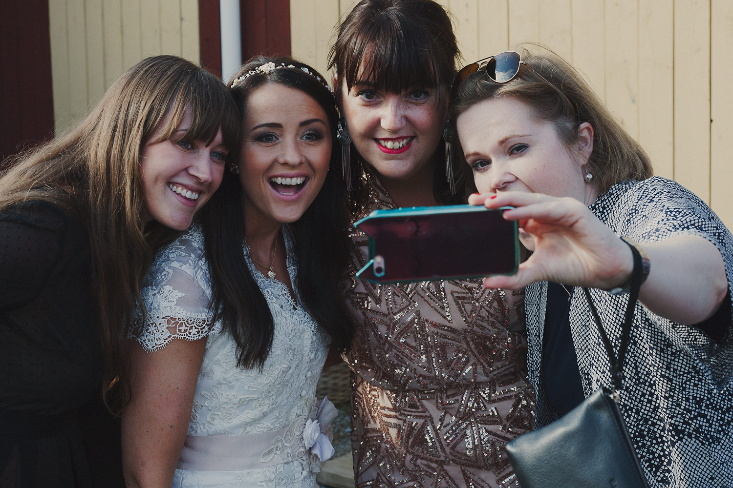 Selfies are in order when the first ass crew member gets hitched.
