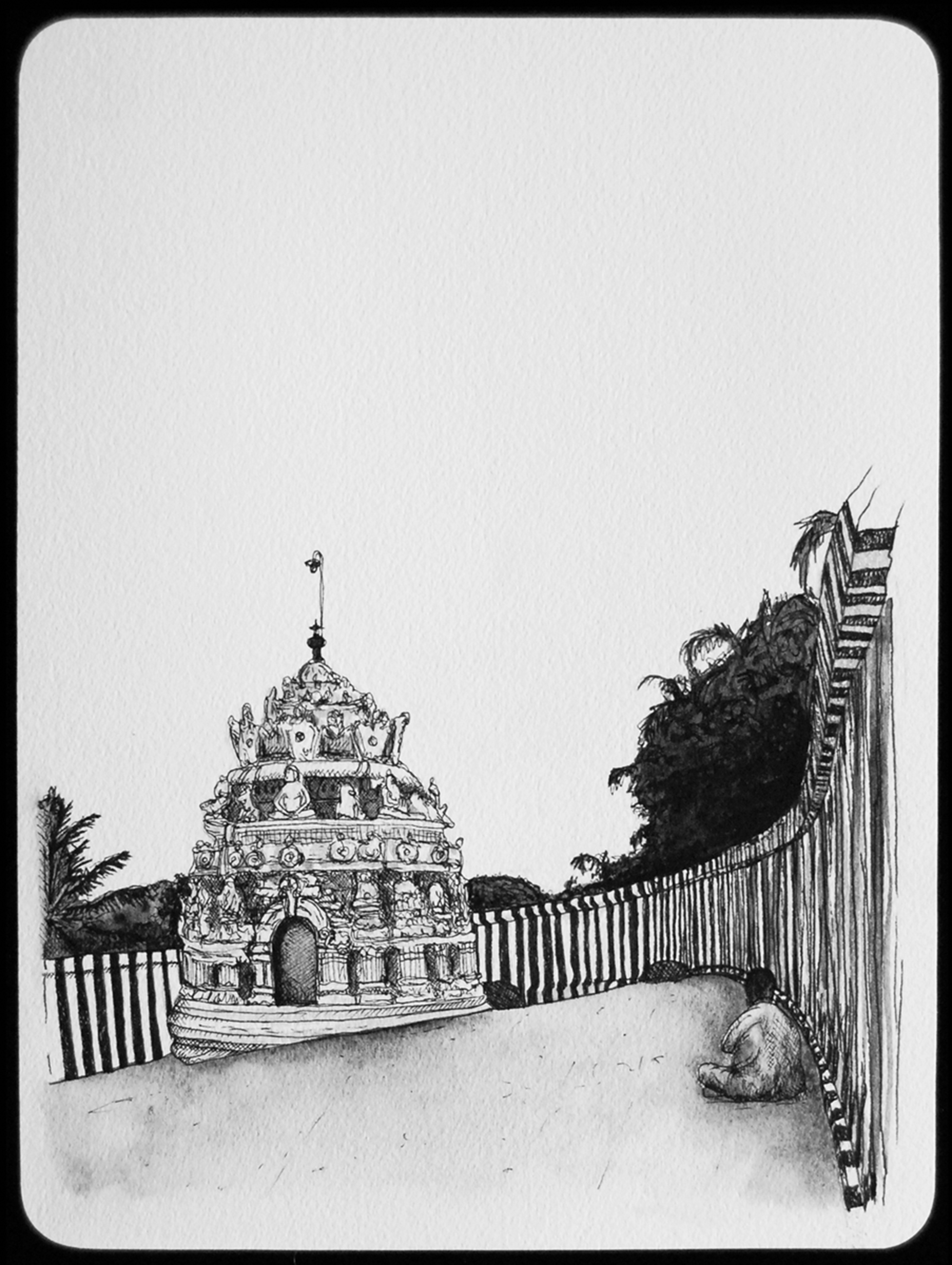 Gavi Gangadhareshwara Cave Temple - Bangalore, India, 9th century, 2011  |  11 x 8 inches  |   archival ink and gouache on paper