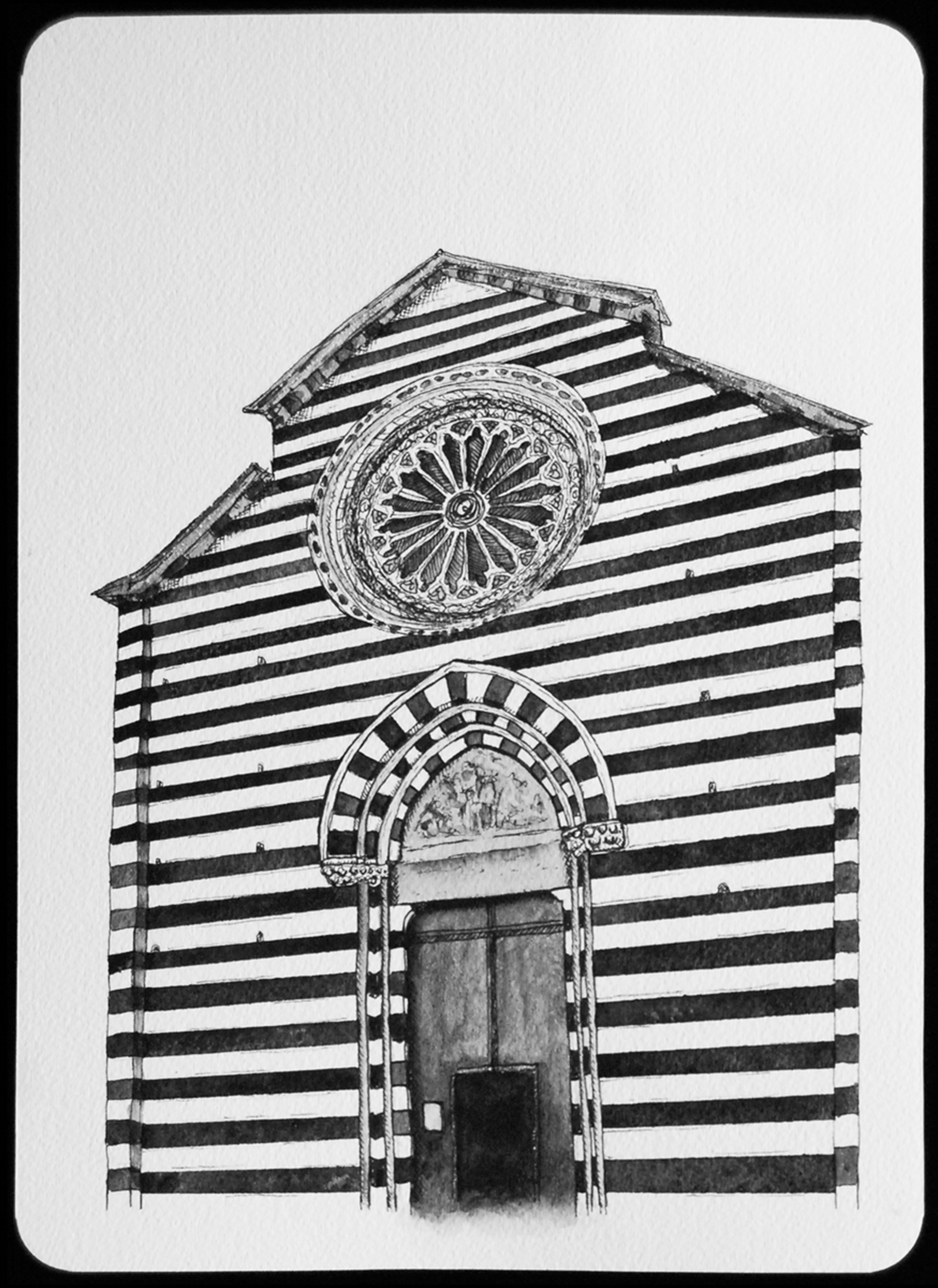 Parish church of St. John the Baptist Monterroso al Mare, northern Italy, 1282-1307, 2011  |  11 x 8 inches  |  archival ink and gouache on paper