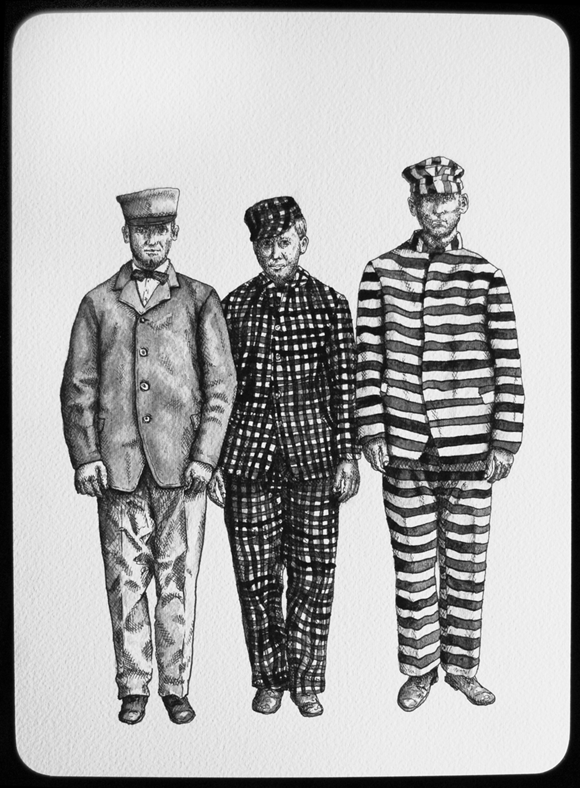 Prisoners at Alcatraz, about 1920, 2011  |  11 x 8 inches  |  archival ink and gouache on paper