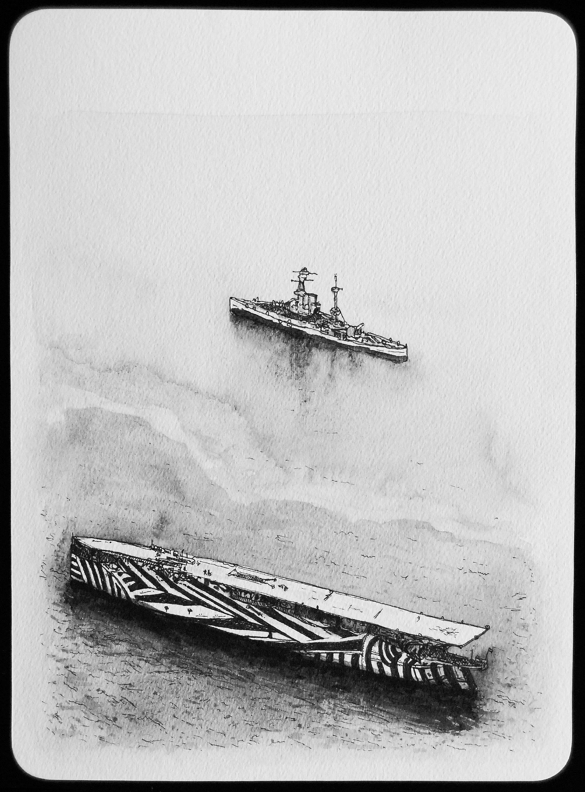 Razzle Dazzle camouflage, French naval ship, WWI, 2011  |  11 x 8 inches  |  archival ink and gouache on paper