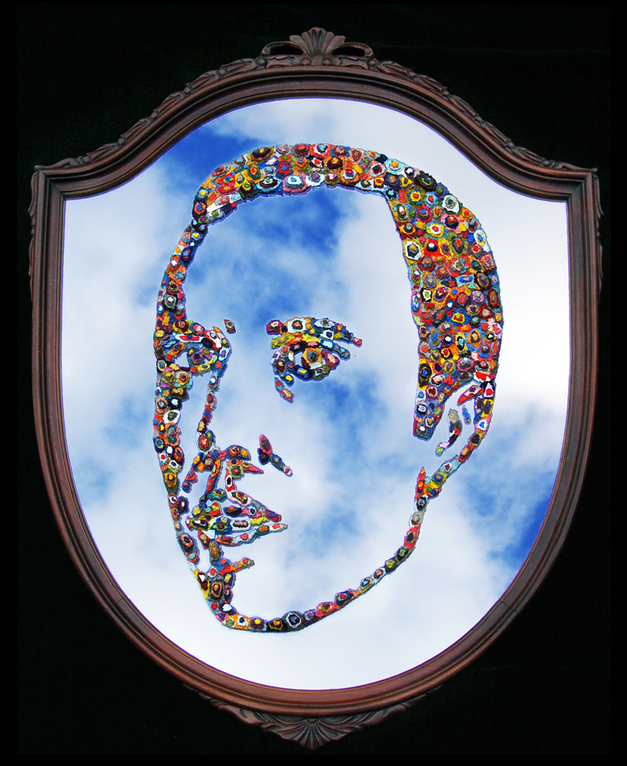 AP XII (Self-Portrait), 2009  |   36 x 29 inches  |  oil on Art Nouveau mirror (circa 1930)