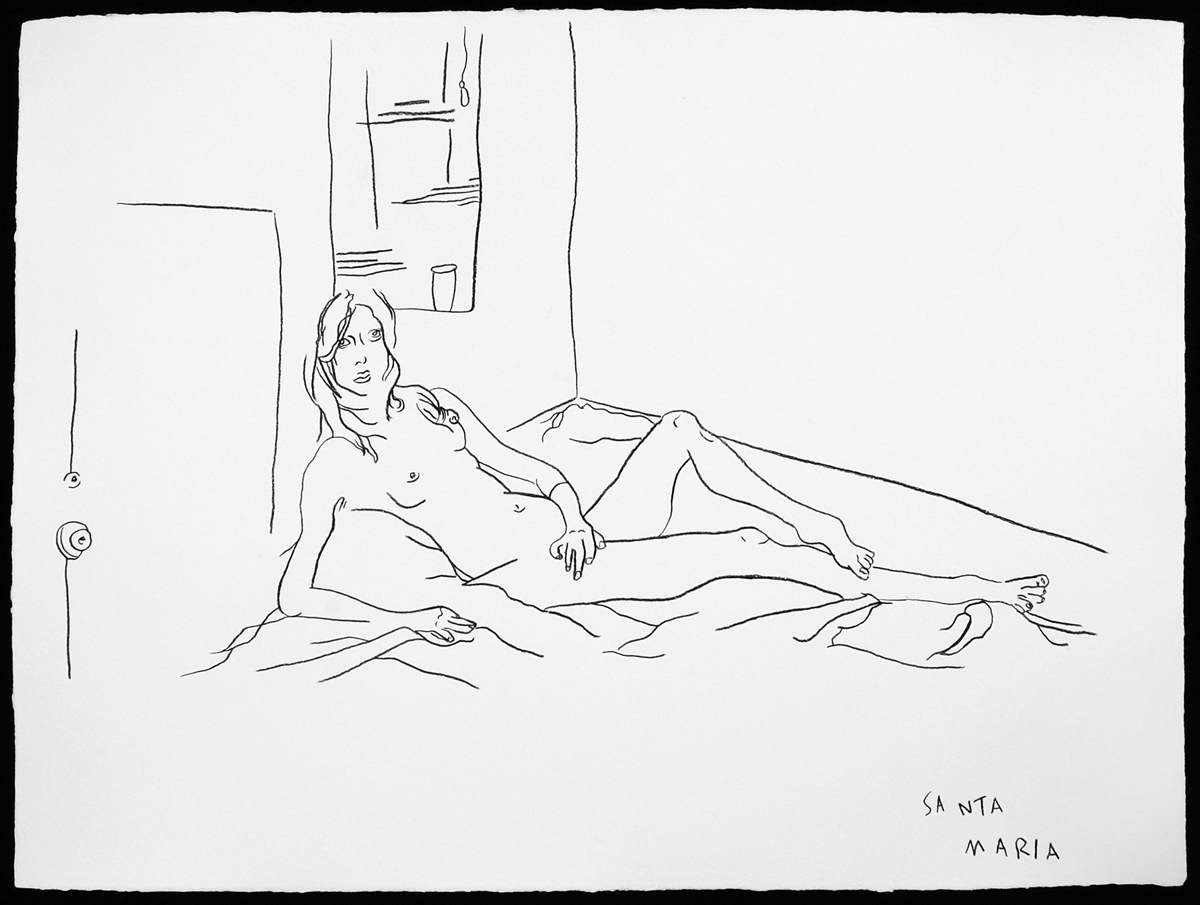 Reclining Nude,2007 | 22 X 30 inches |oil-based pastel pencil on handmade paper