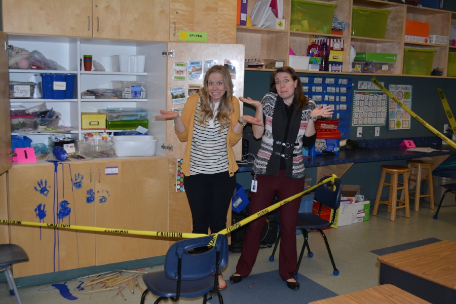 Setting up the class while students were at recess allowed them to be really surprised when they walked in! Do we look sneaky?