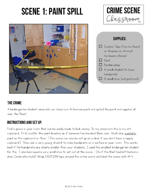 Organization is key!  The  Crime Scene Class pack  has detailed set-up instructions to make planning/set up so much easier.