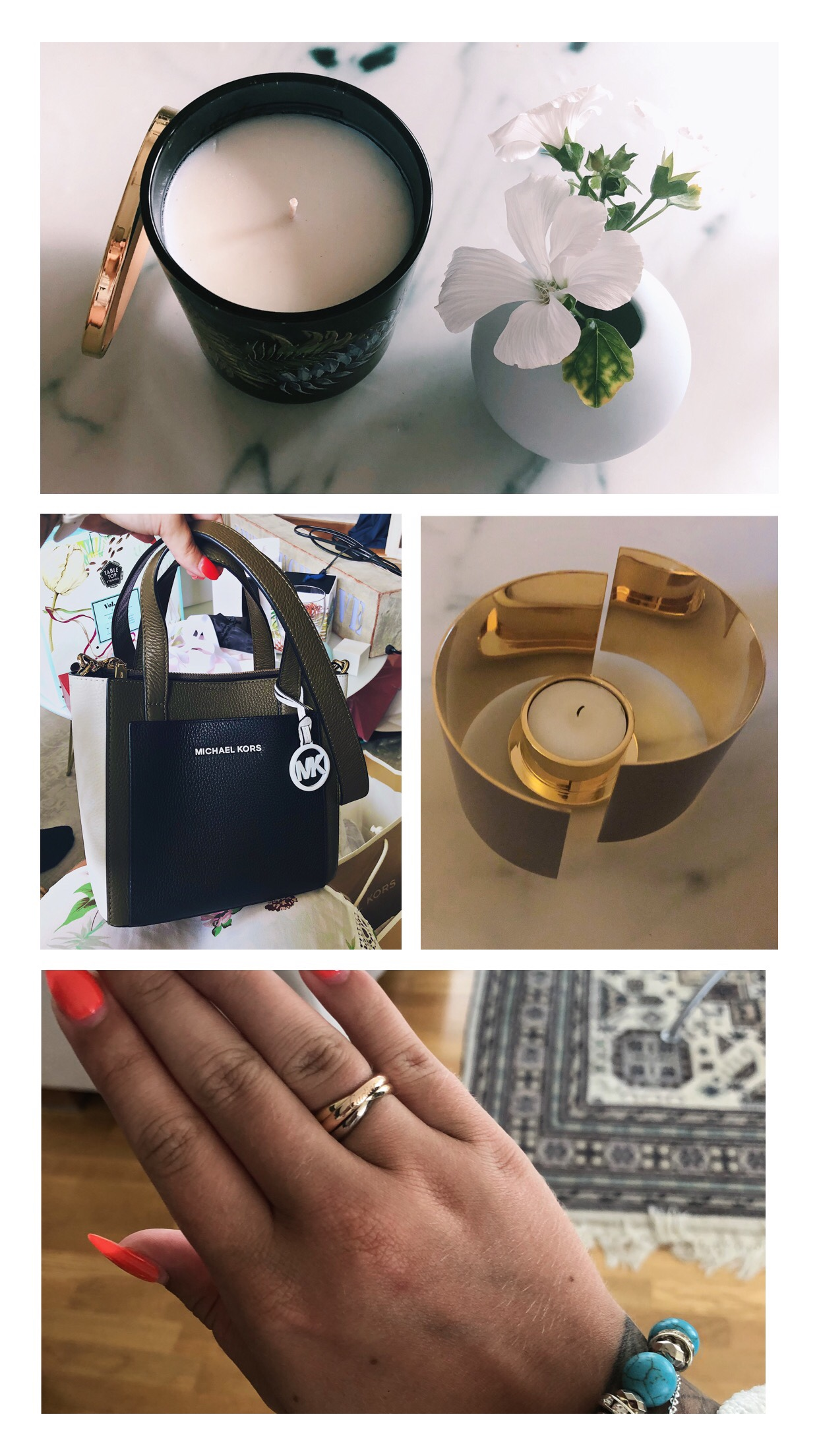 Ett doftljus från Reverie, en fin liten ljusblå vas, en MK-handväska, en ljuslykta från Skultuna och en ring från Cartier.