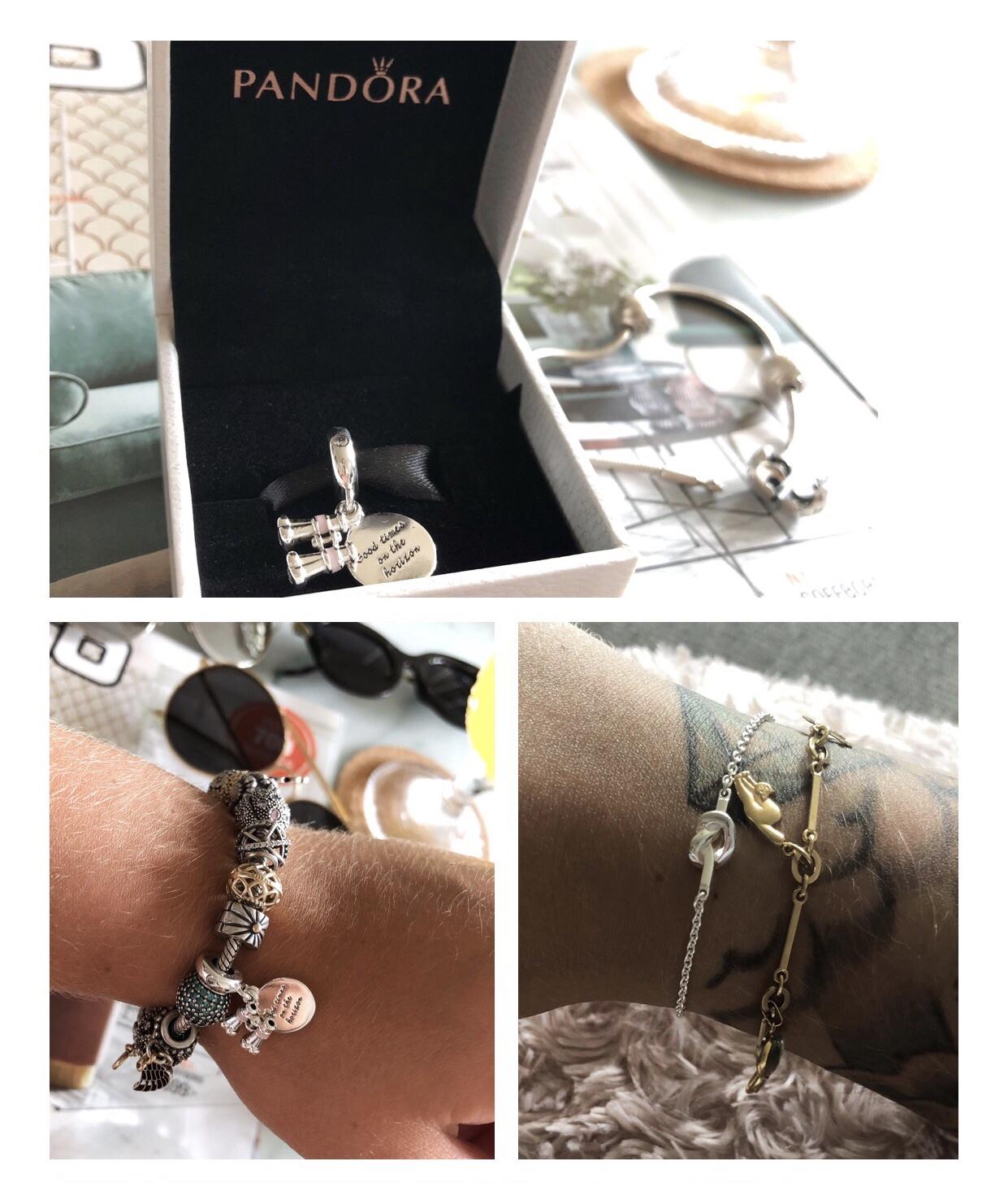 En berlock från Pandora, ett armband från Efva Attling och ett väldigt värdefullt och betydelsefullt guldarmband.