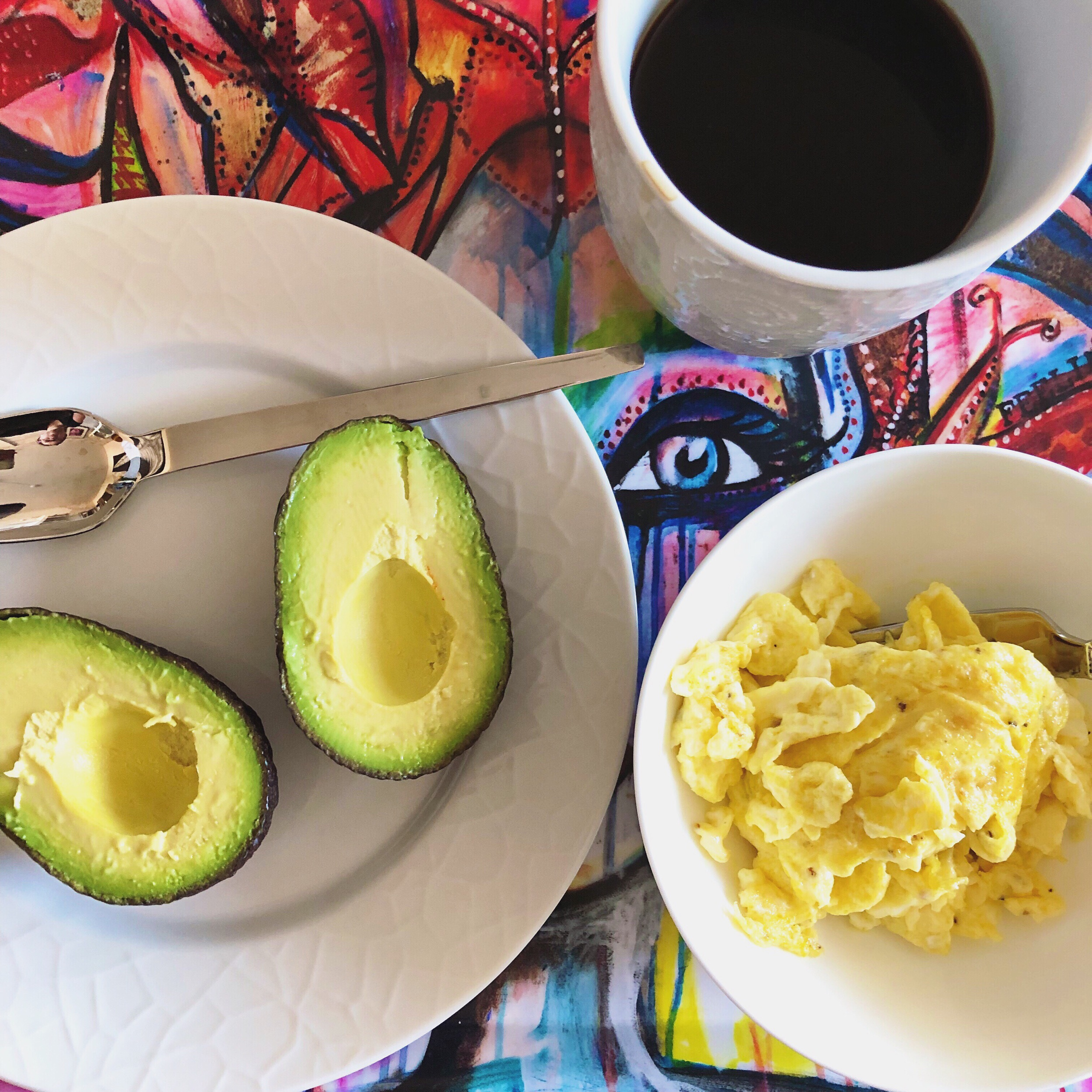 En kopp kaffe, en styck avokado och äggröra gjort på två ägg 👌🏼.
