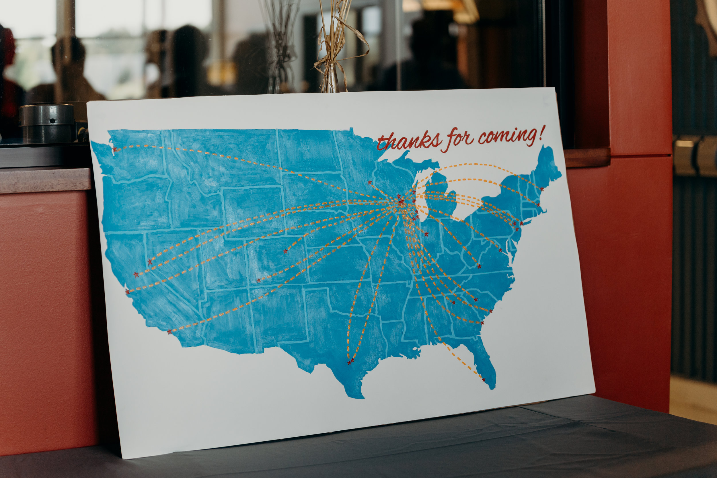 Map of the United States showing from where all of the wedding guests have traveled.