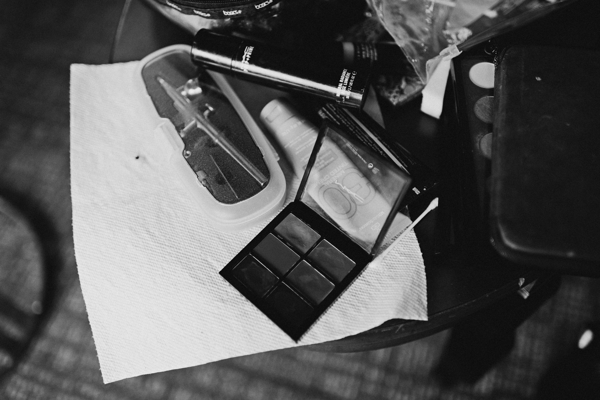 Wedding makeup on a table