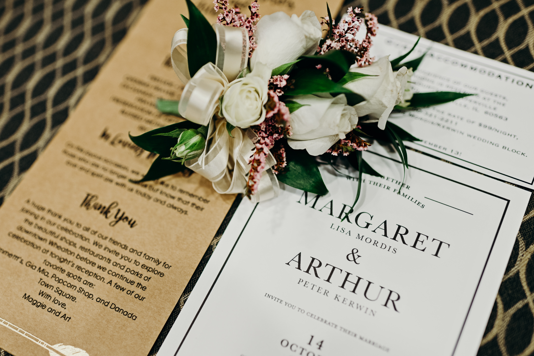Wedding invitation suite and corsage