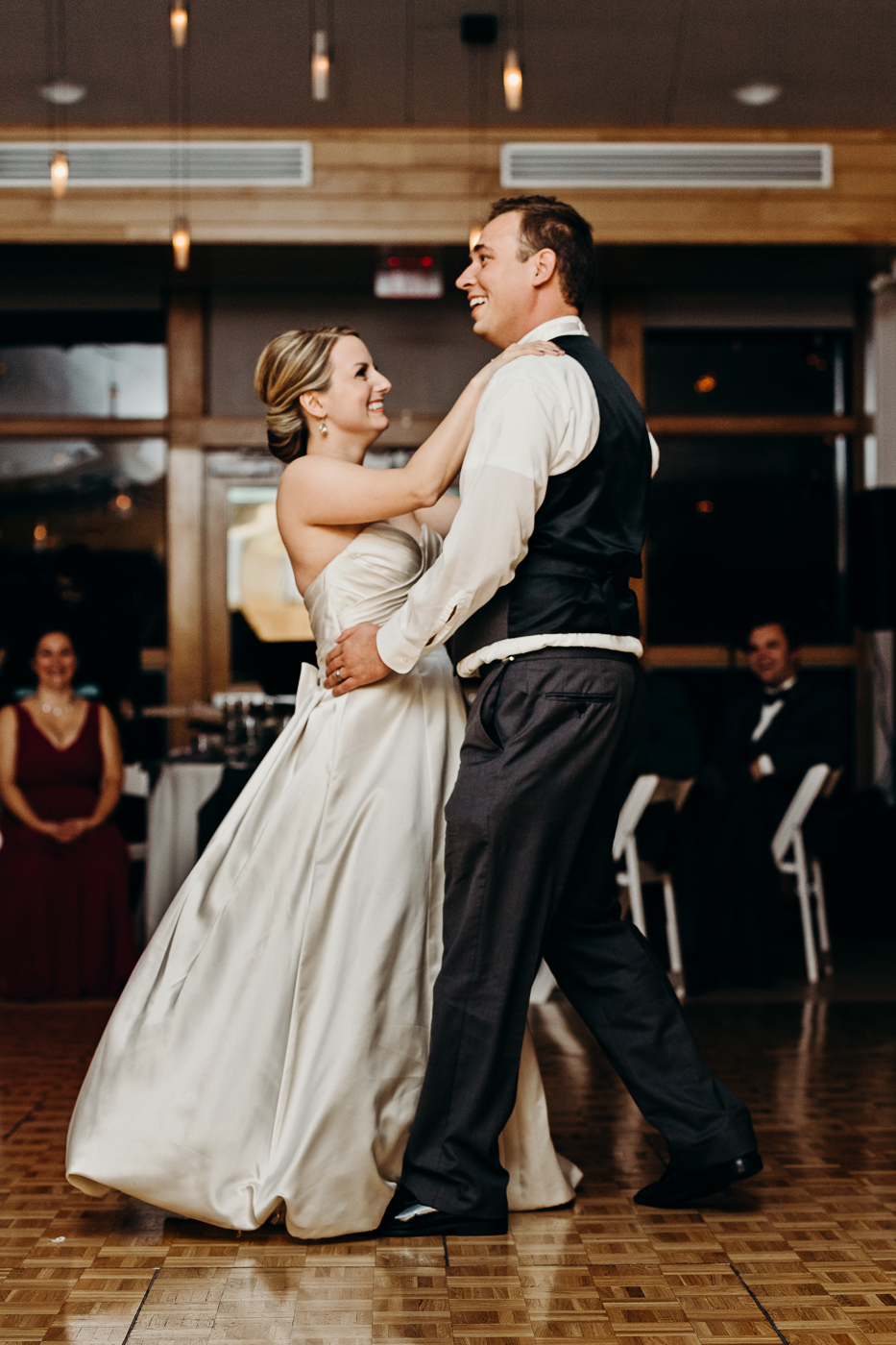 Bride and groom dance for the first time as husband and wife