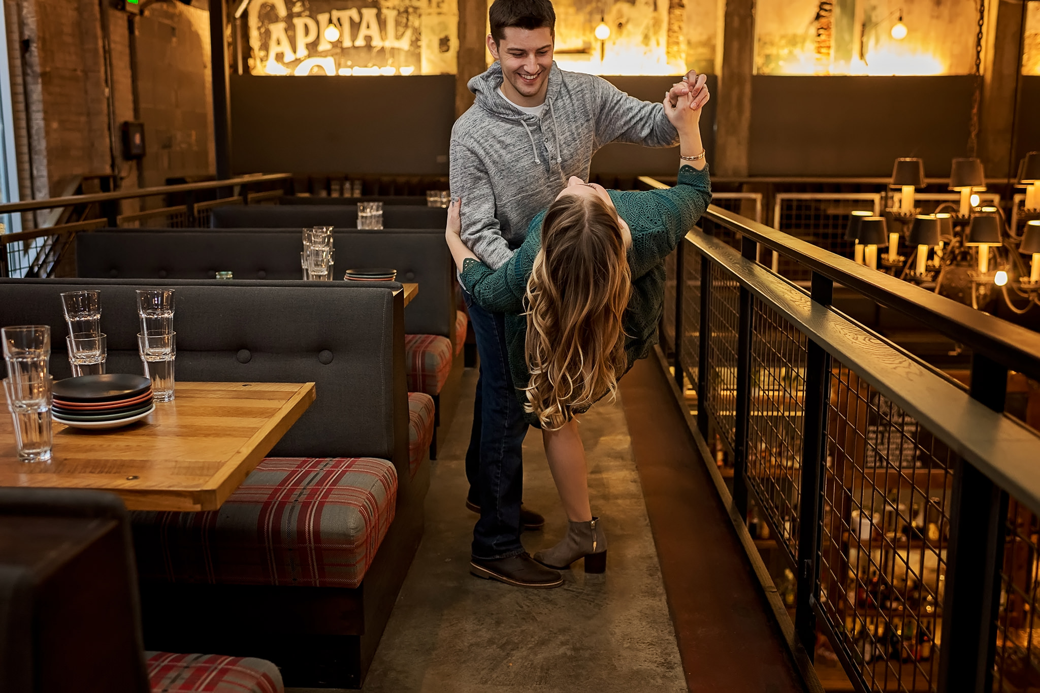 Man dips his fiance while dancing at Lucille