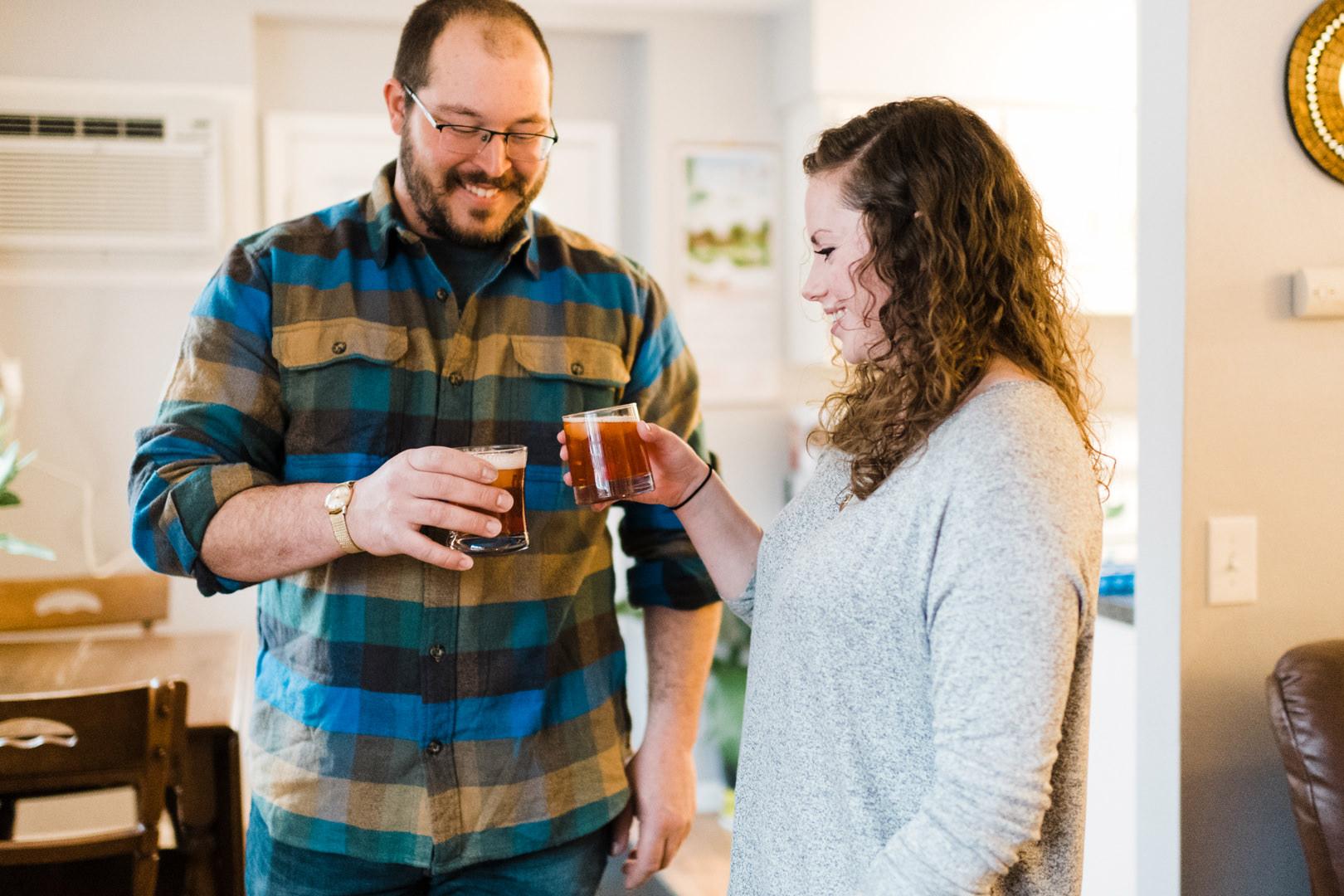 Engaged couple toasting