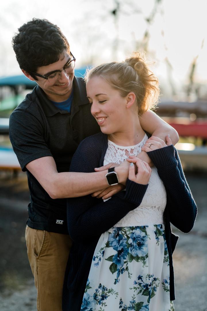Man embracing fiancé