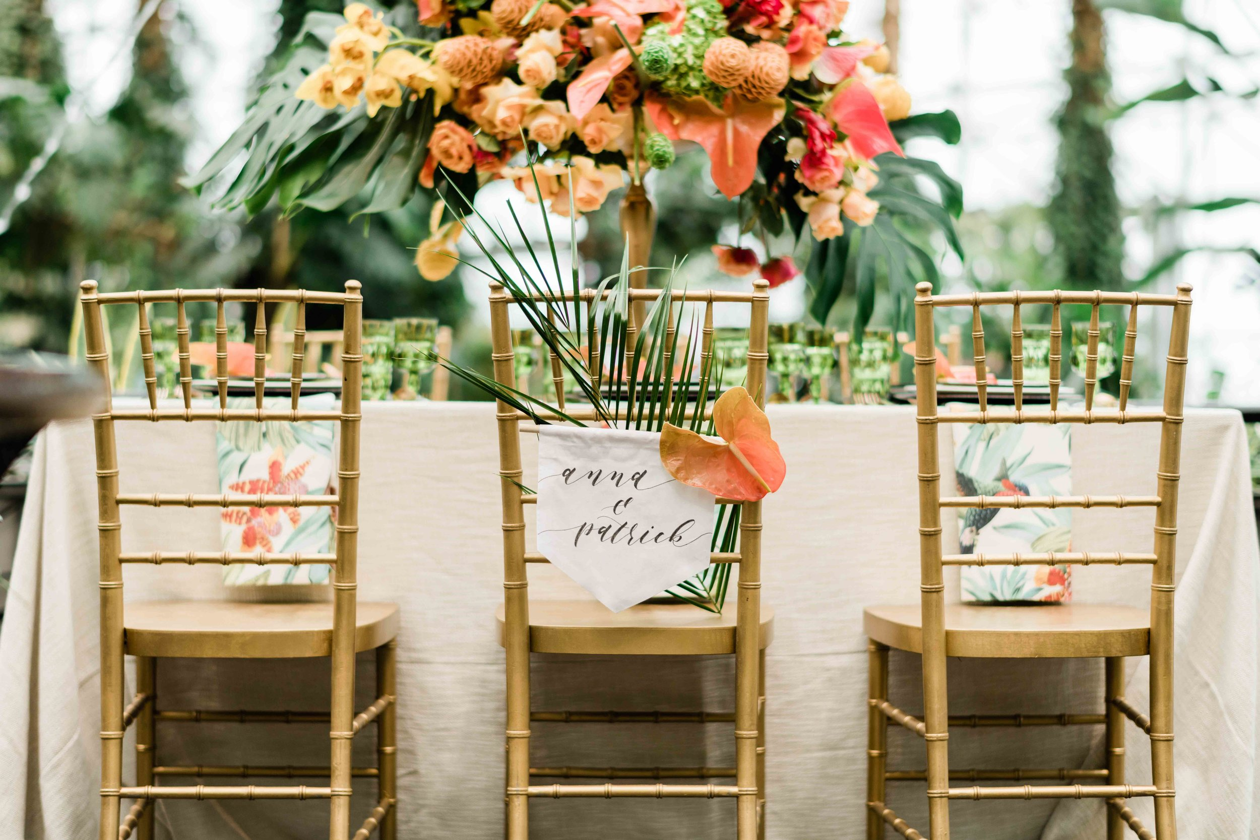 Bride and groom name sign on a chair